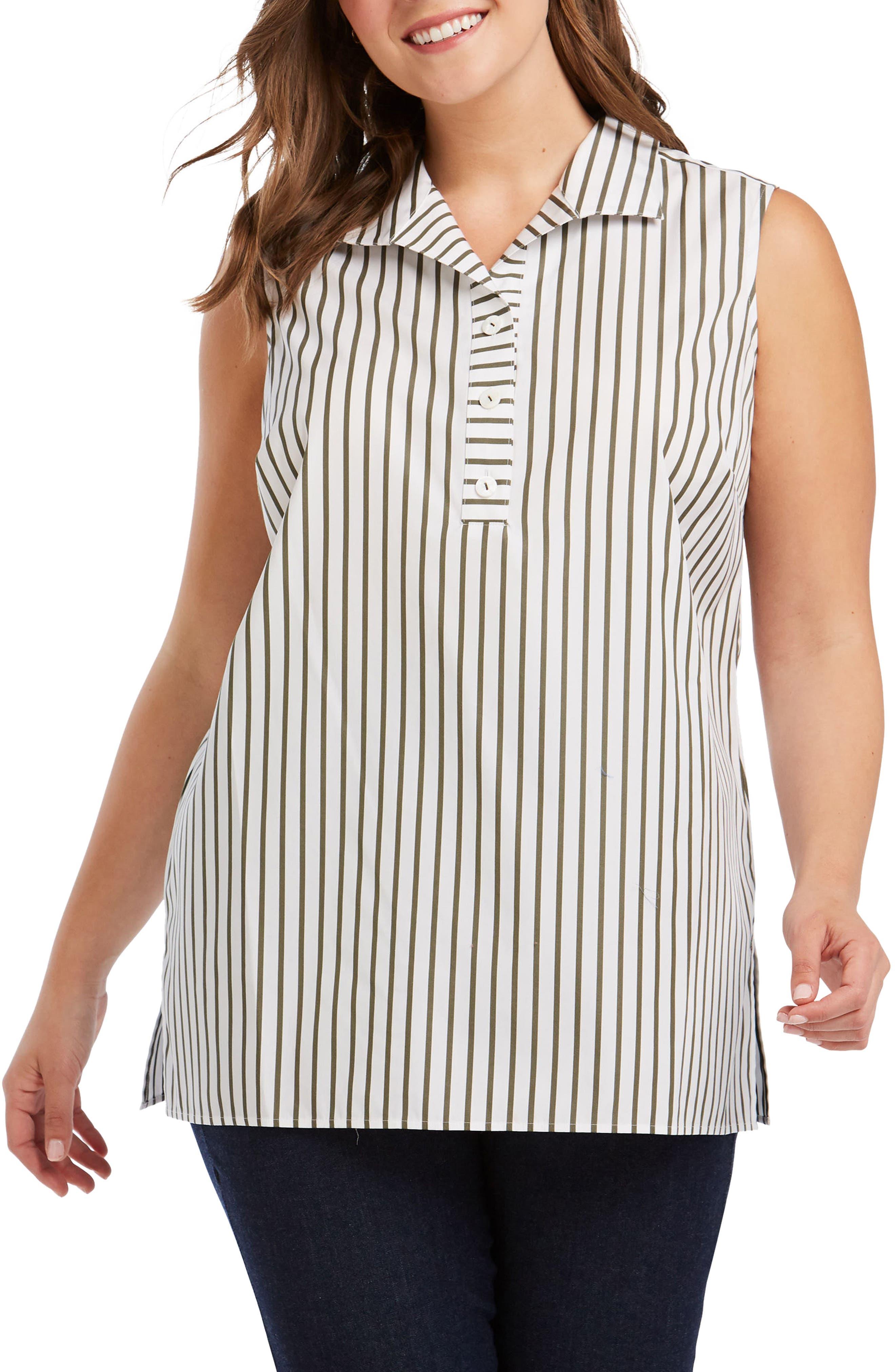 Dani Summer Stripe Top,                         Main,                         color, OLIVE
