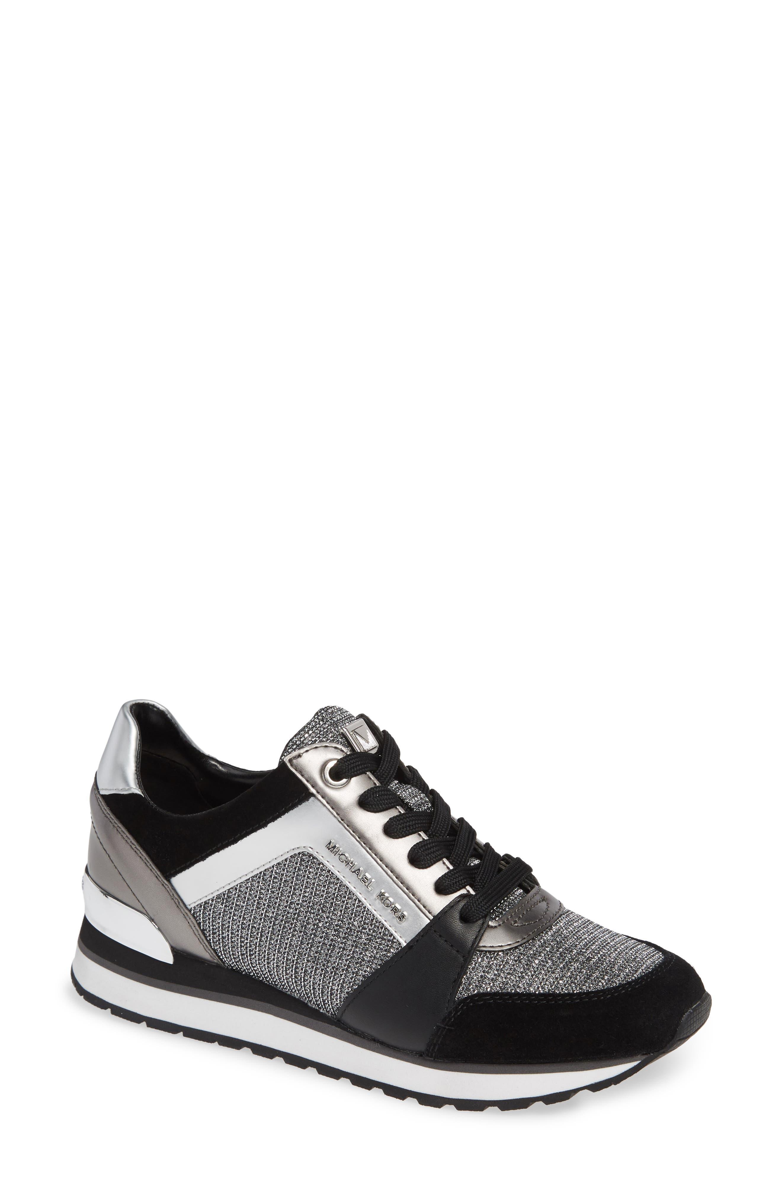 Billie Perforated Sneaker,                             Main thumbnail 1, color,                             BLACK/ SILVER