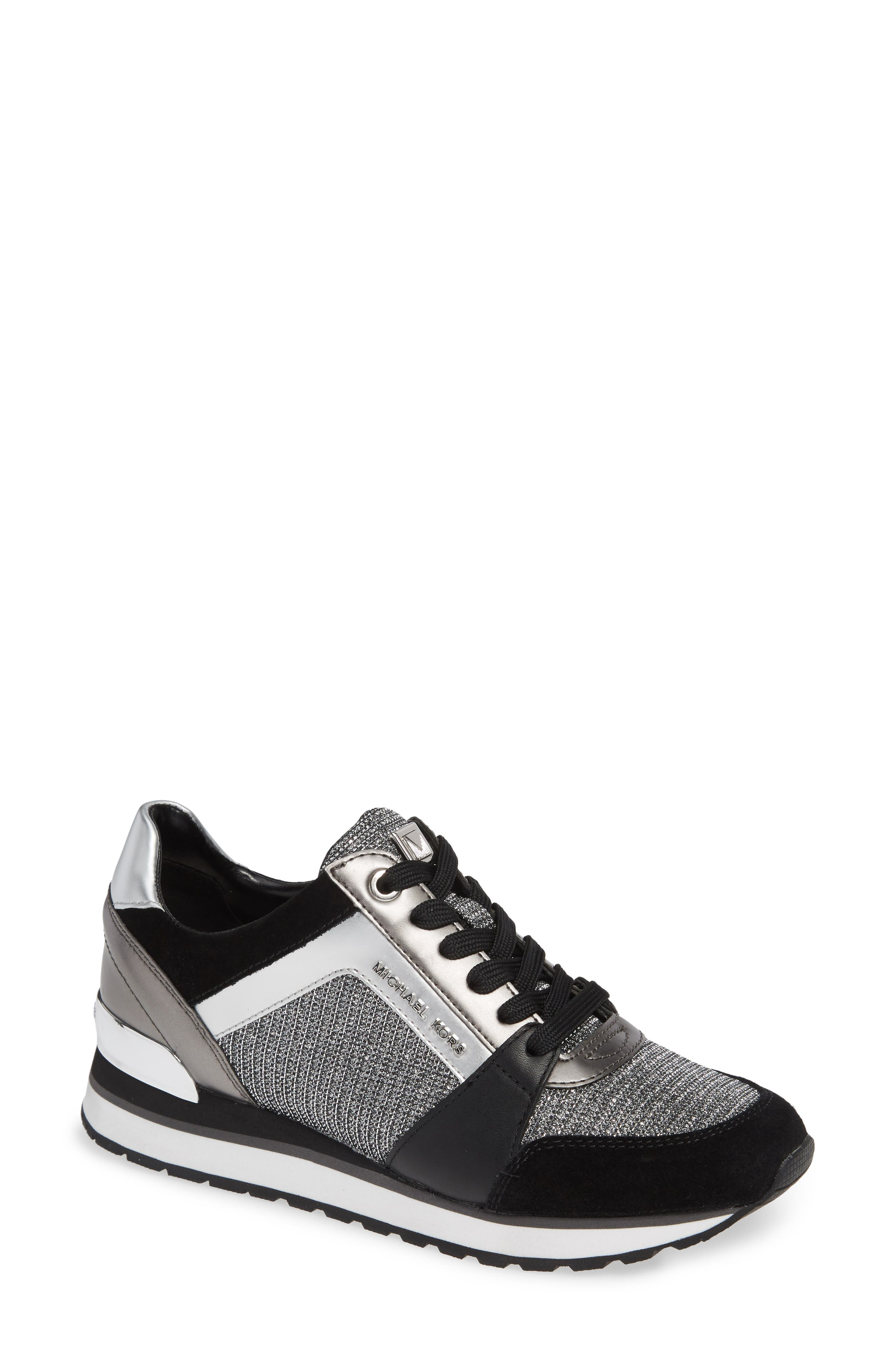 Billie Perforated Sneaker,                         Main,                         color, BLACK/ SILVER