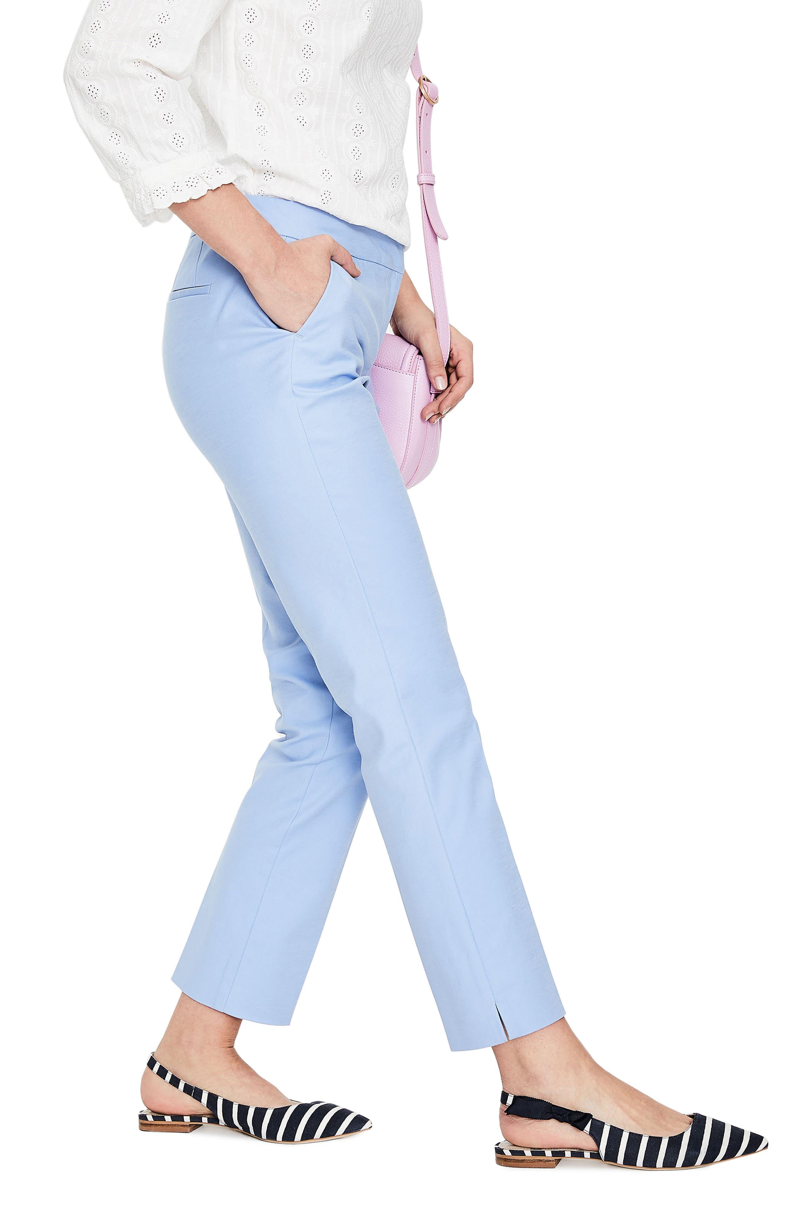 Richmond Polka Dot Stripe Contrast Ankle Pants,                         Main,                         color, HAZY BLUE