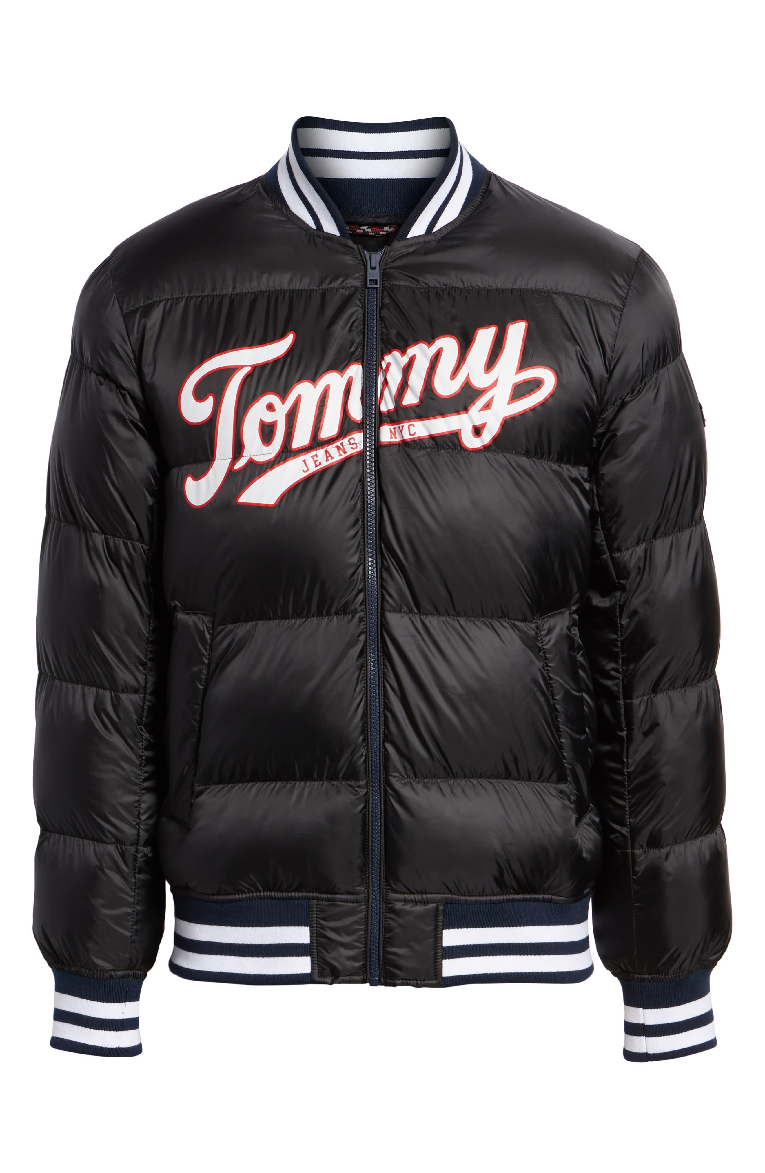 Varsity Jacket,                             Alternate thumbnail 6, color,                             TOMMY BLACK