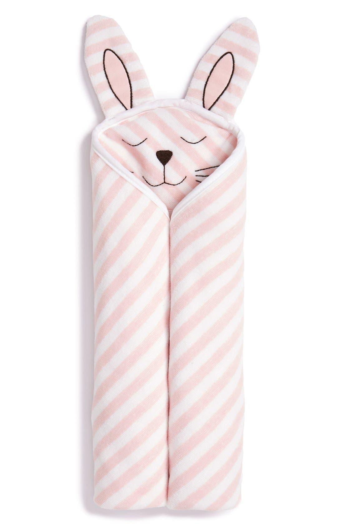 Hooded Animal Towel,                             Main thumbnail 1, color,                             PINK BABY BUNNY