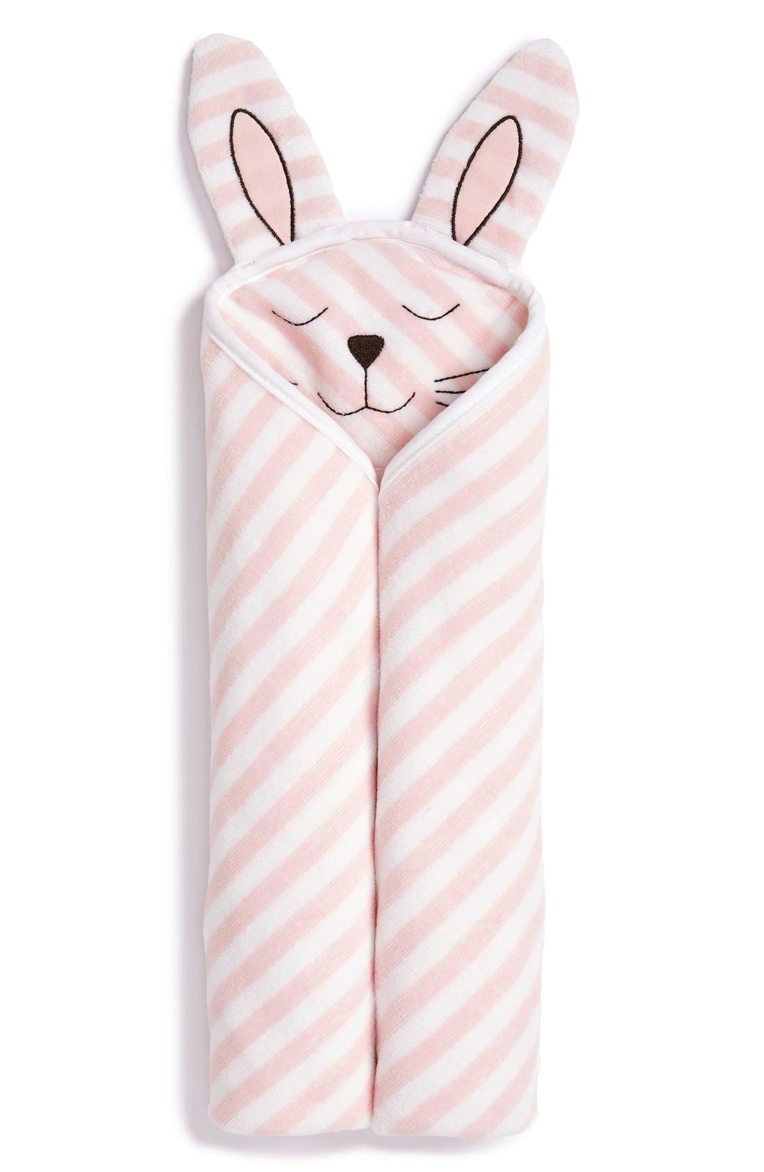 Hooded Animal Towel,                         Main,                         color, PINK BABY BUNNY