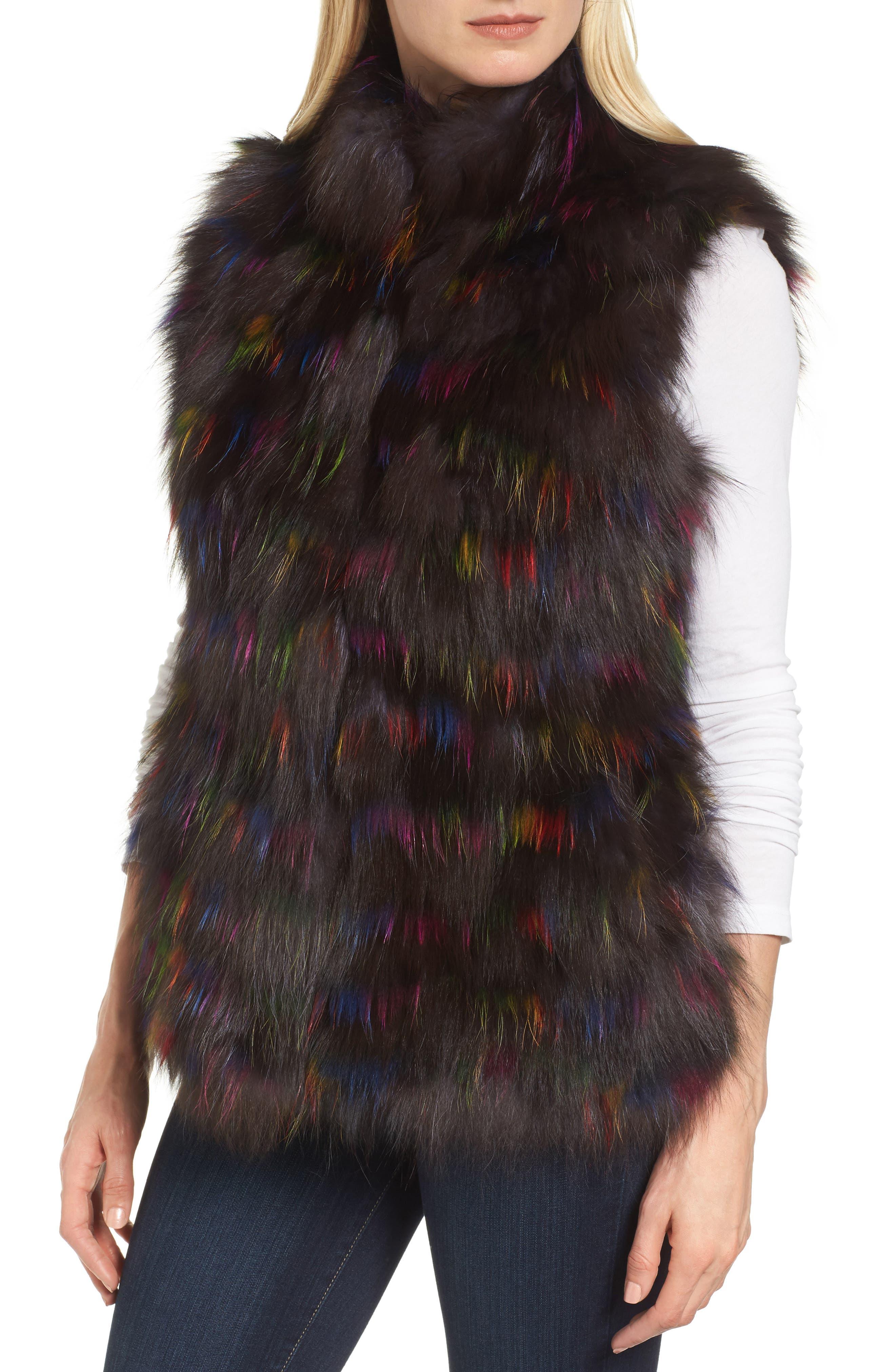 Genuine Fox Fur Vest,                             Alternate thumbnail 4, color,                             200