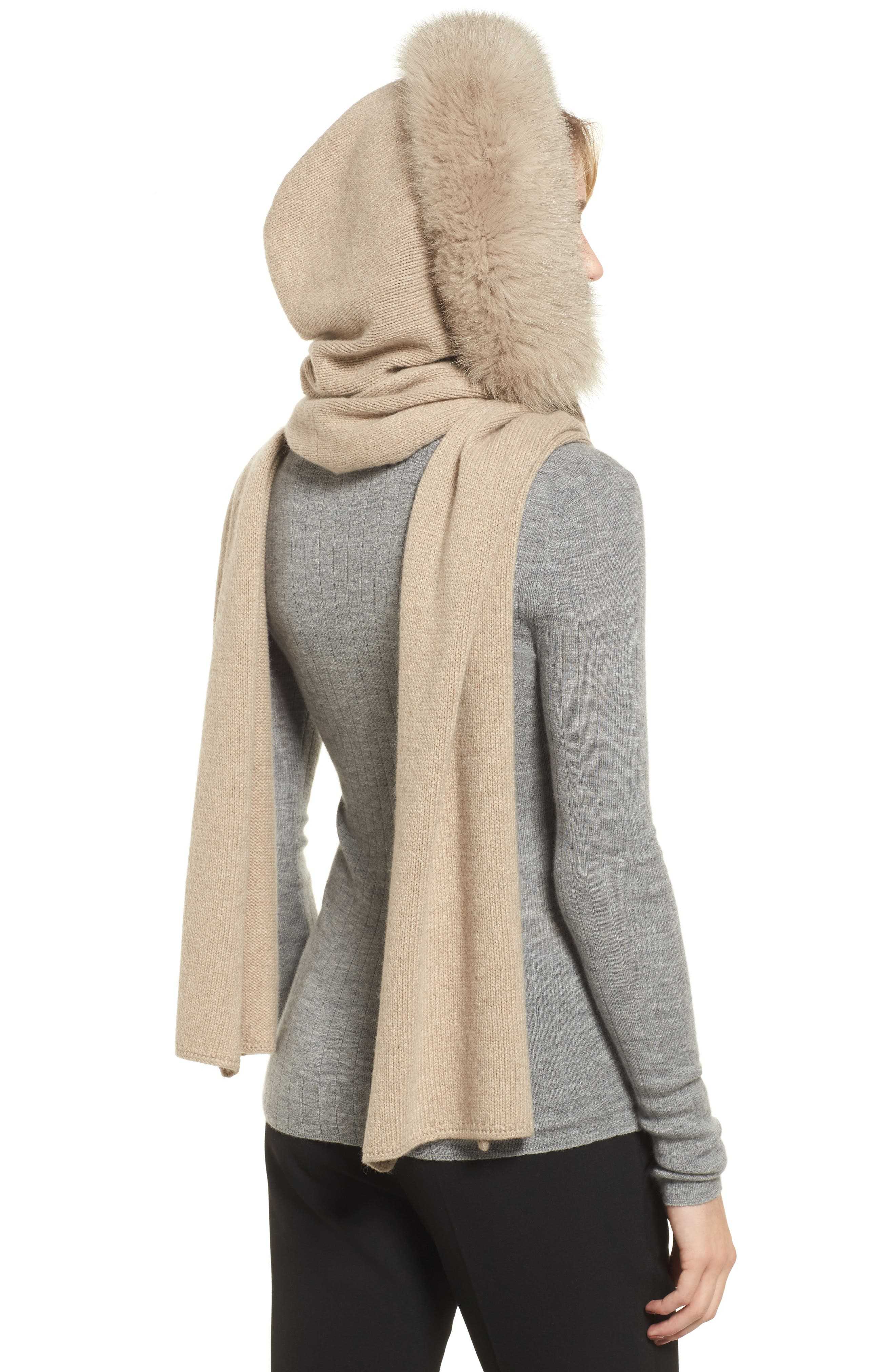 Nava Hooded Scarf with Genuine Fox Fur Trim,                             Alternate thumbnail 2, color,                             001 ALBINO