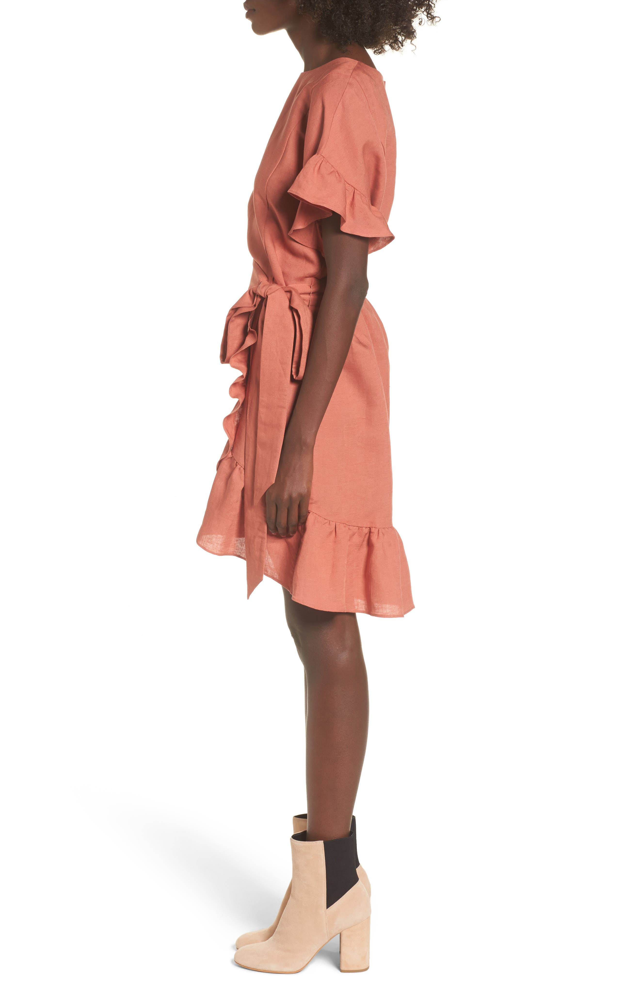 Ruffle Linen Blend Wrap Dress,                             Alternate thumbnail 6, color,
