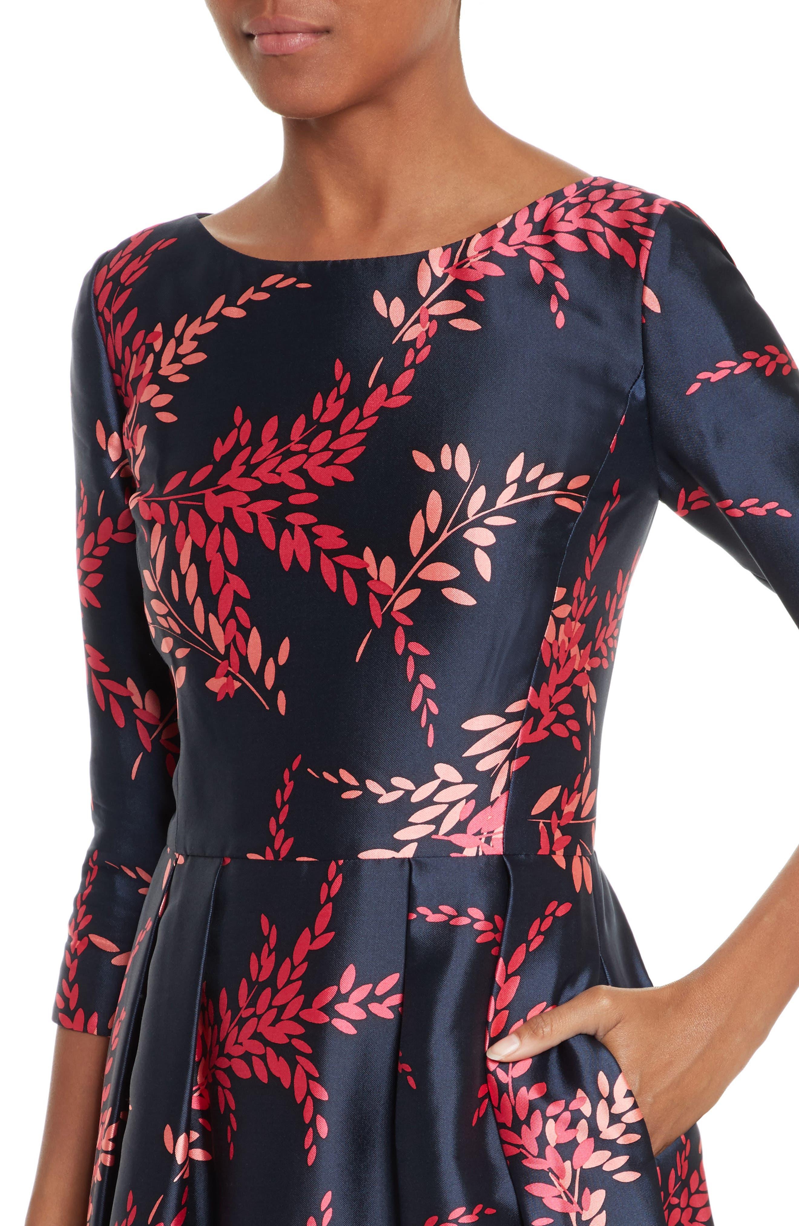 Leaf Print Silk & Cotton Dress,                             Alternate thumbnail 4, color,                             415