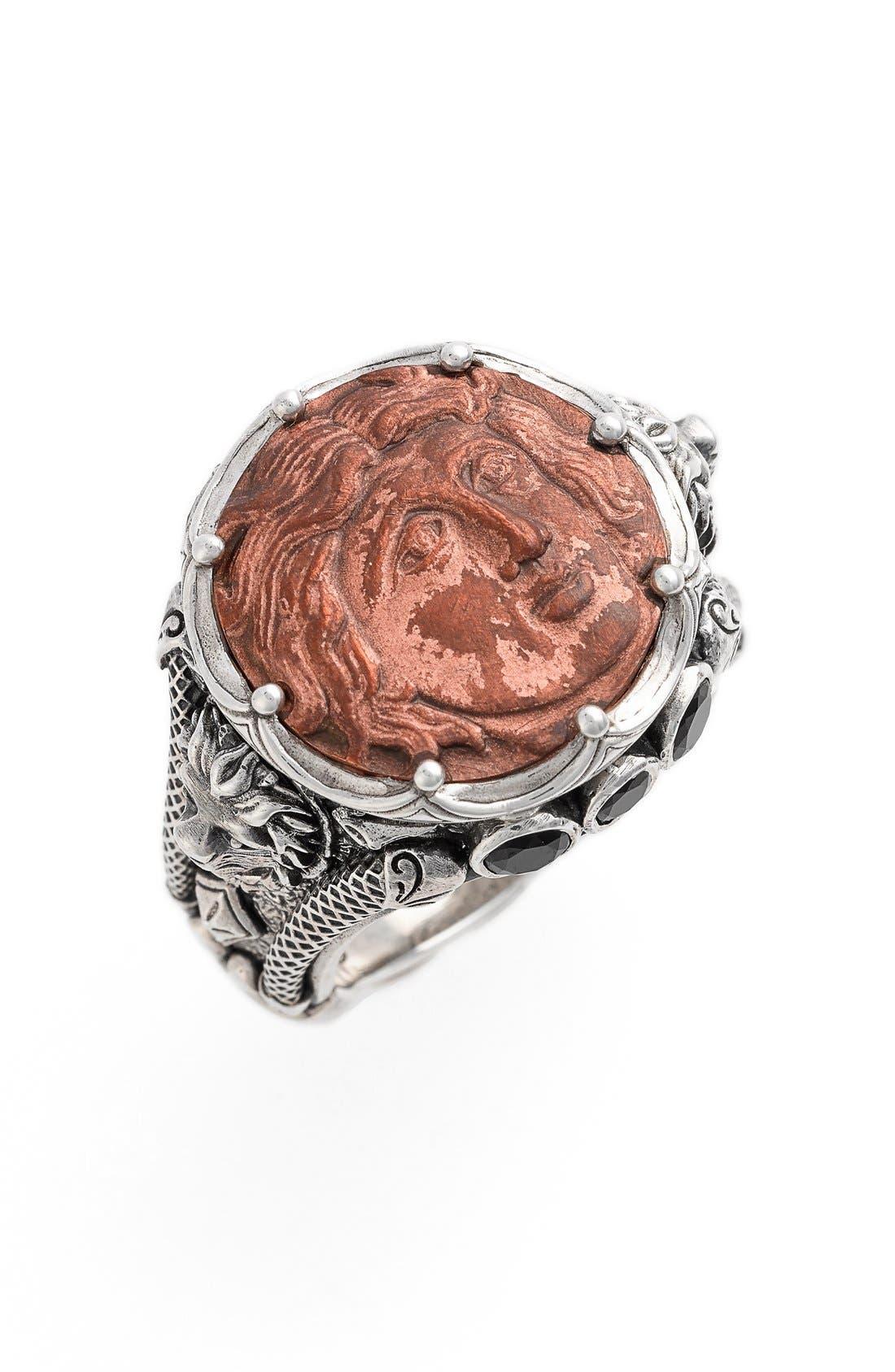 'Aeolous' Greek Coin Ring,                             Main thumbnail 1, color,                             COPPER/ SILVER