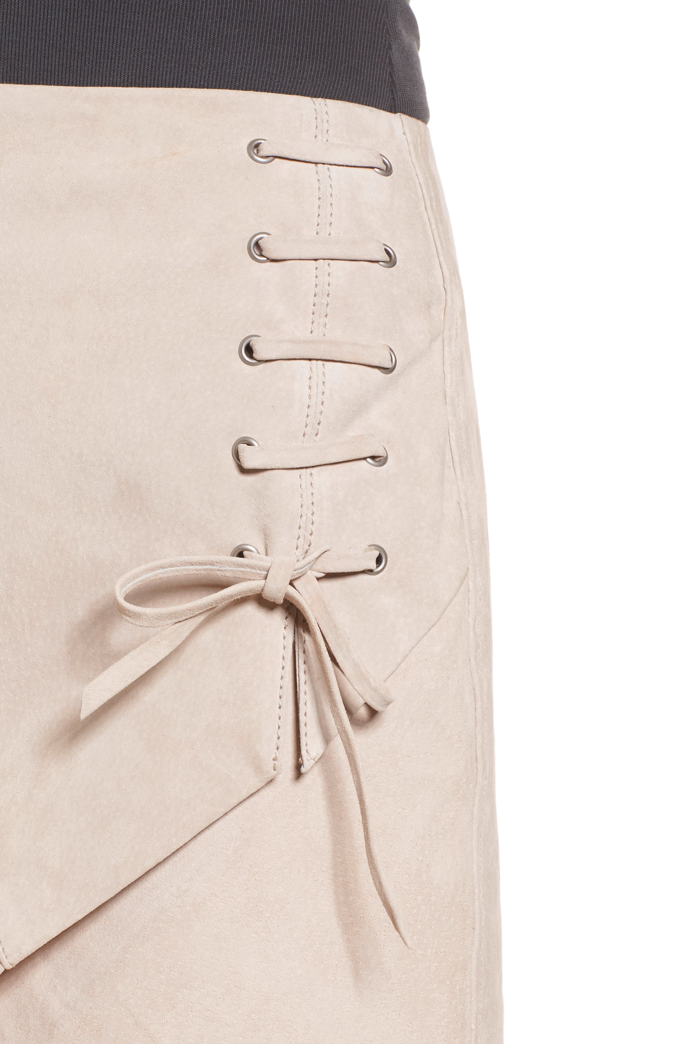 Lace-Up Suede Miniskirt,                             Alternate thumbnail 4, color,                             250