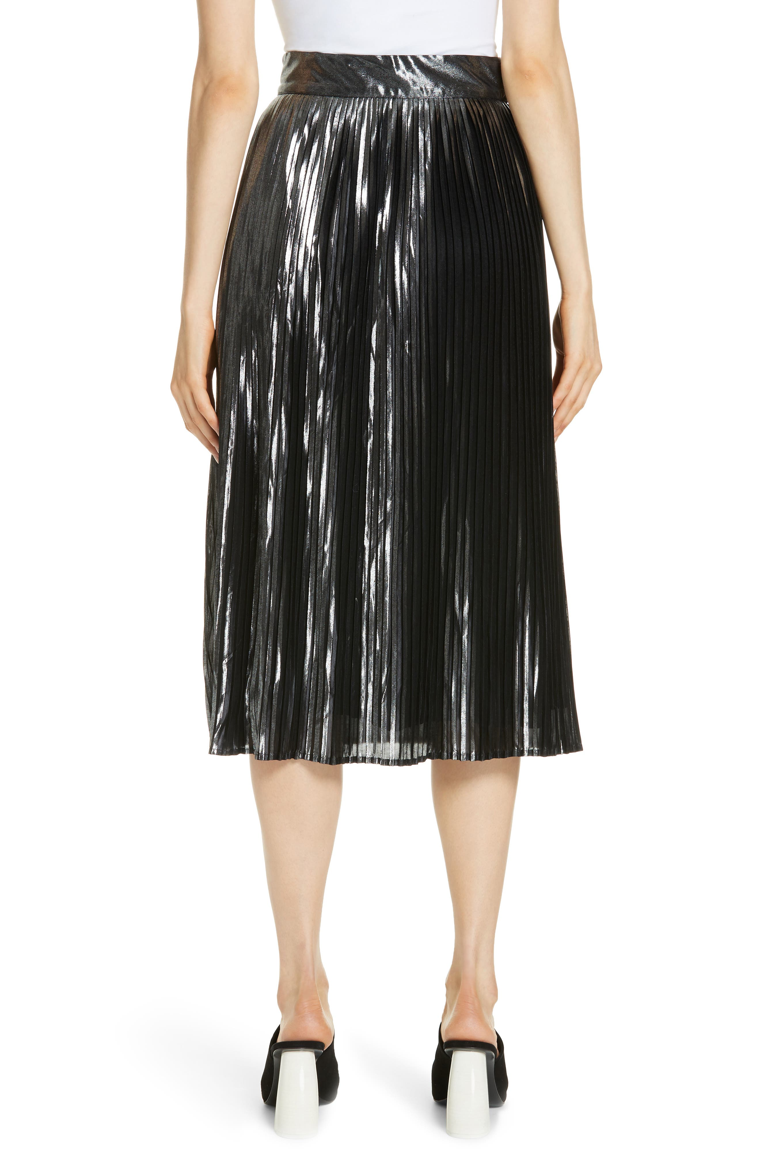 Palace Micropleat Metallic Skirt,                             Alternate thumbnail 2, color,                             ARGENT