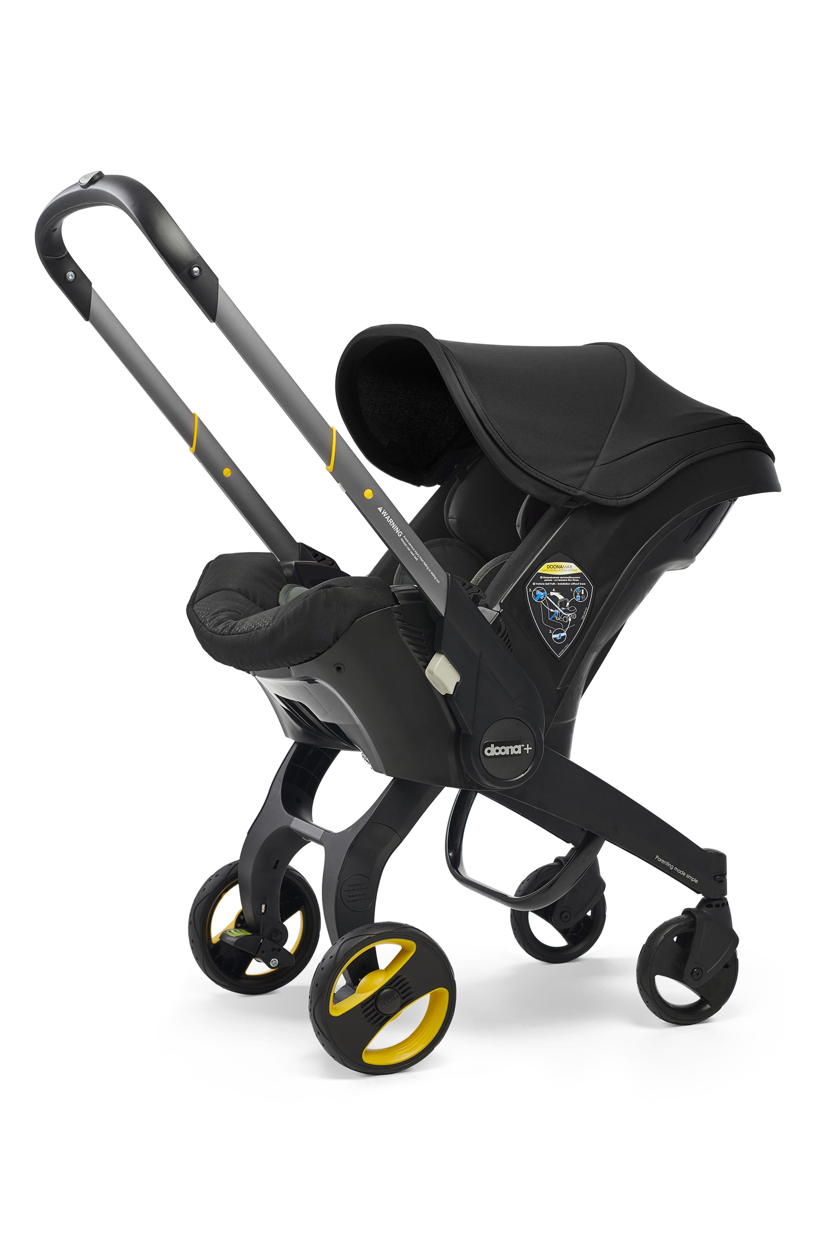 Convertible Infant Car Seat/Compact Stroller System with Base,                             Main thumbnail 1, color,                             BLACK/NIGHT