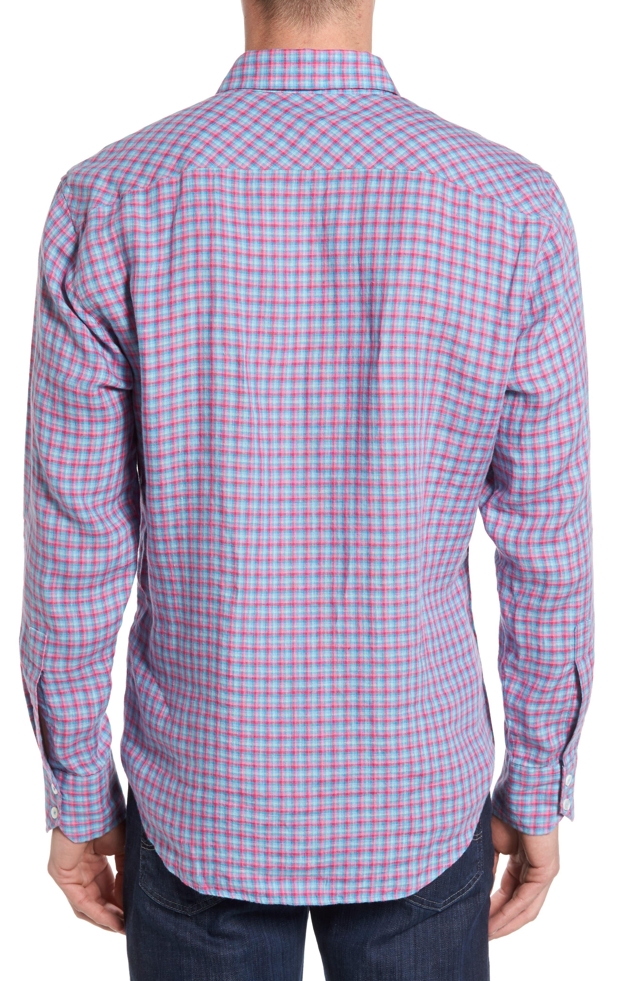Althoff Plaid Linen Sport Shirt,                             Alternate thumbnail 2, color,                             PINK