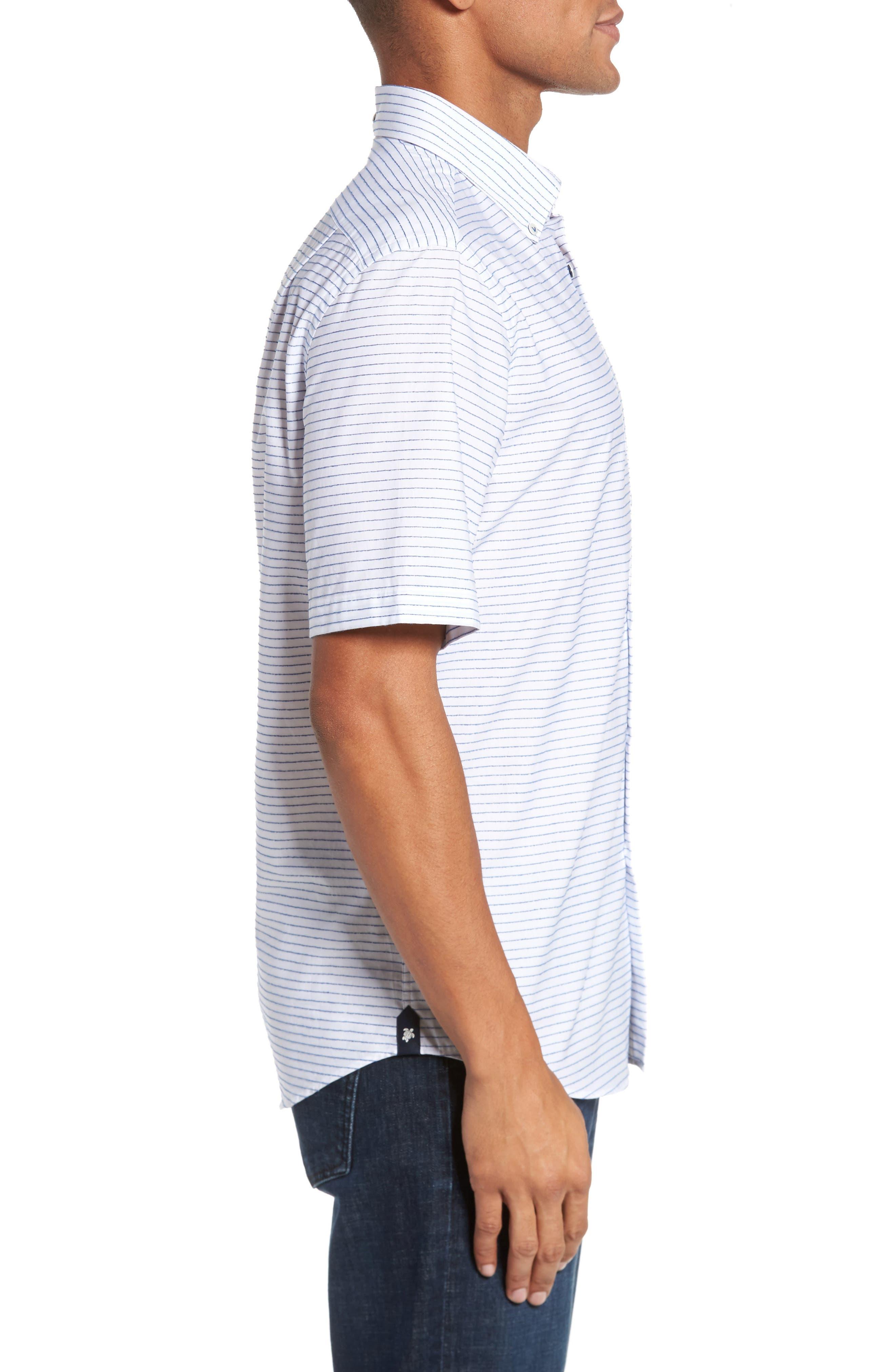 Slim Fit Stripe Sport Shirt,                             Alternate thumbnail 3, color,                             163