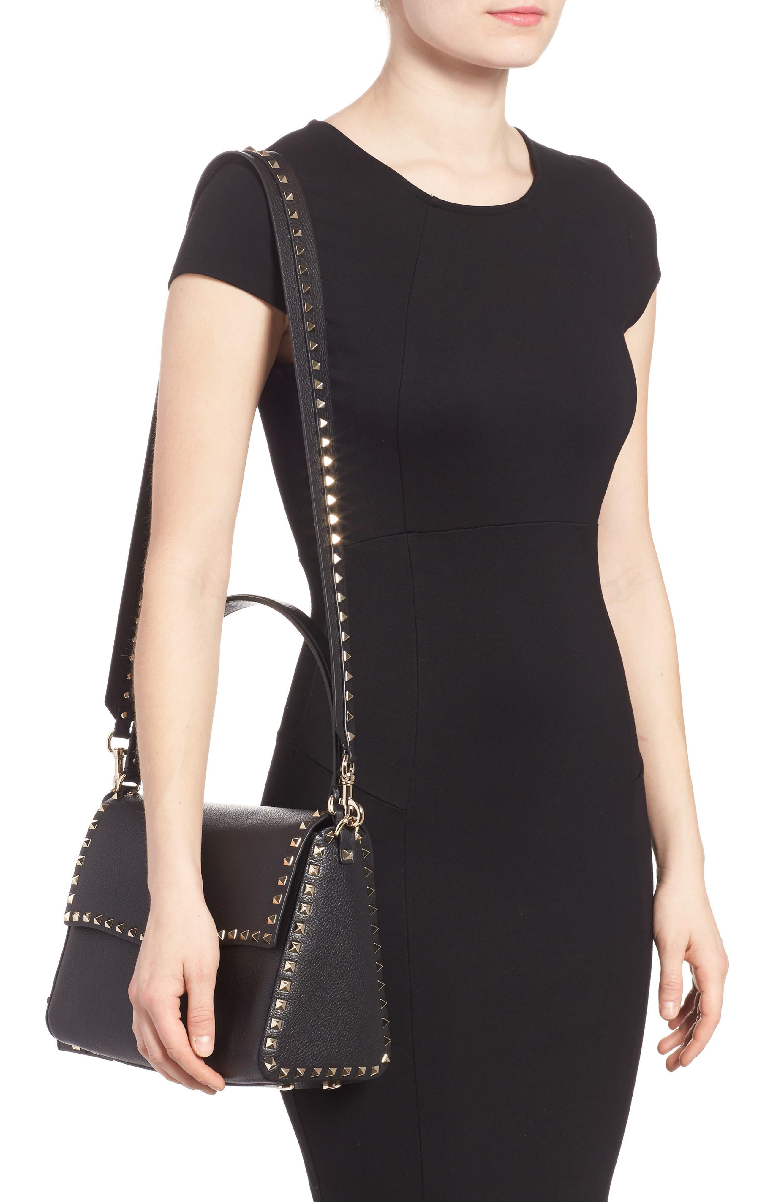 Medium Rockstud Leather Shoulder Bag,                             Alternate thumbnail 2, color,                             001