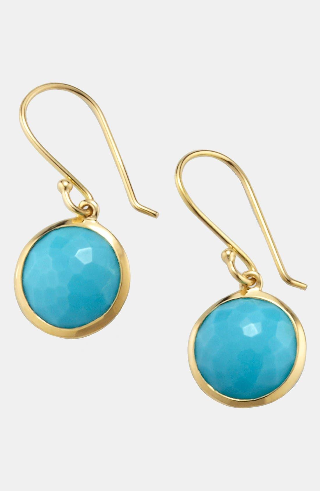 'Rock Candy - Mini Lollipop' 18k Gold Drop Earrings,                             Main thumbnail 1, color,                             YELLOW GOLD/TURQUOISE