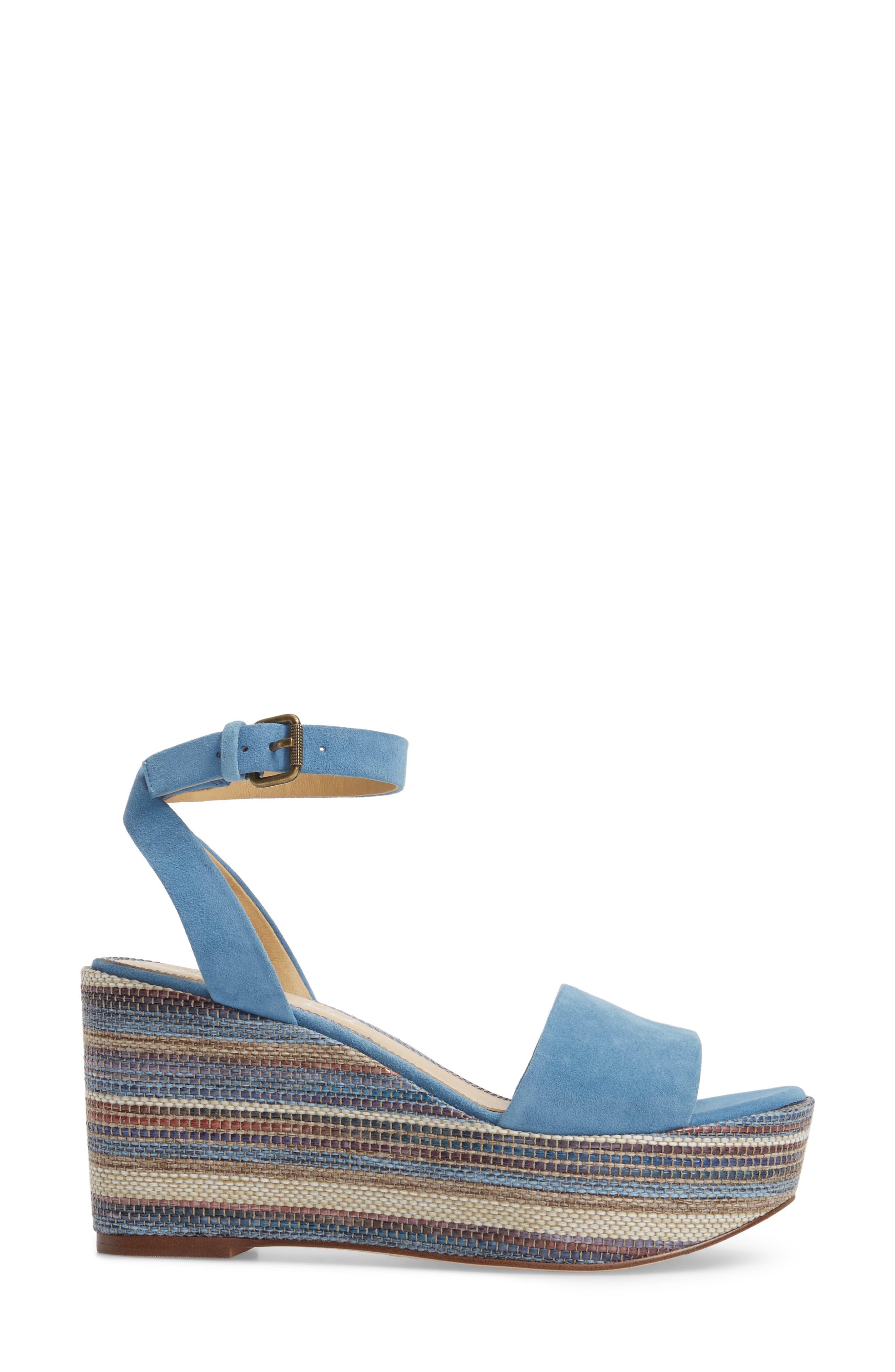Felix Platform Wedge Sandal,                             Alternate thumbnail 3, color,                             BLUE HORIZON SUEDE