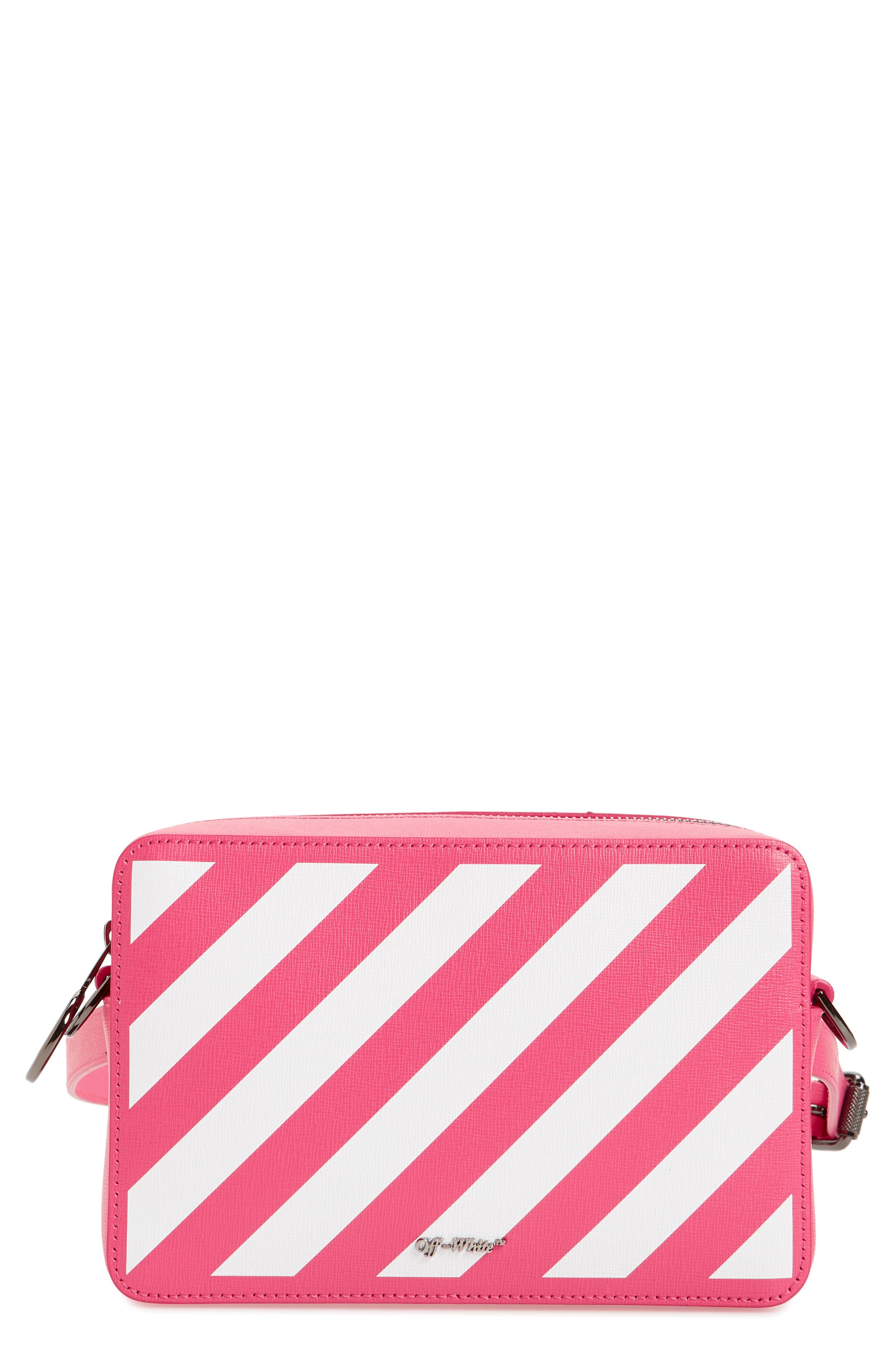 Diagonal Fanny Pack - Pink in Fucshia White
