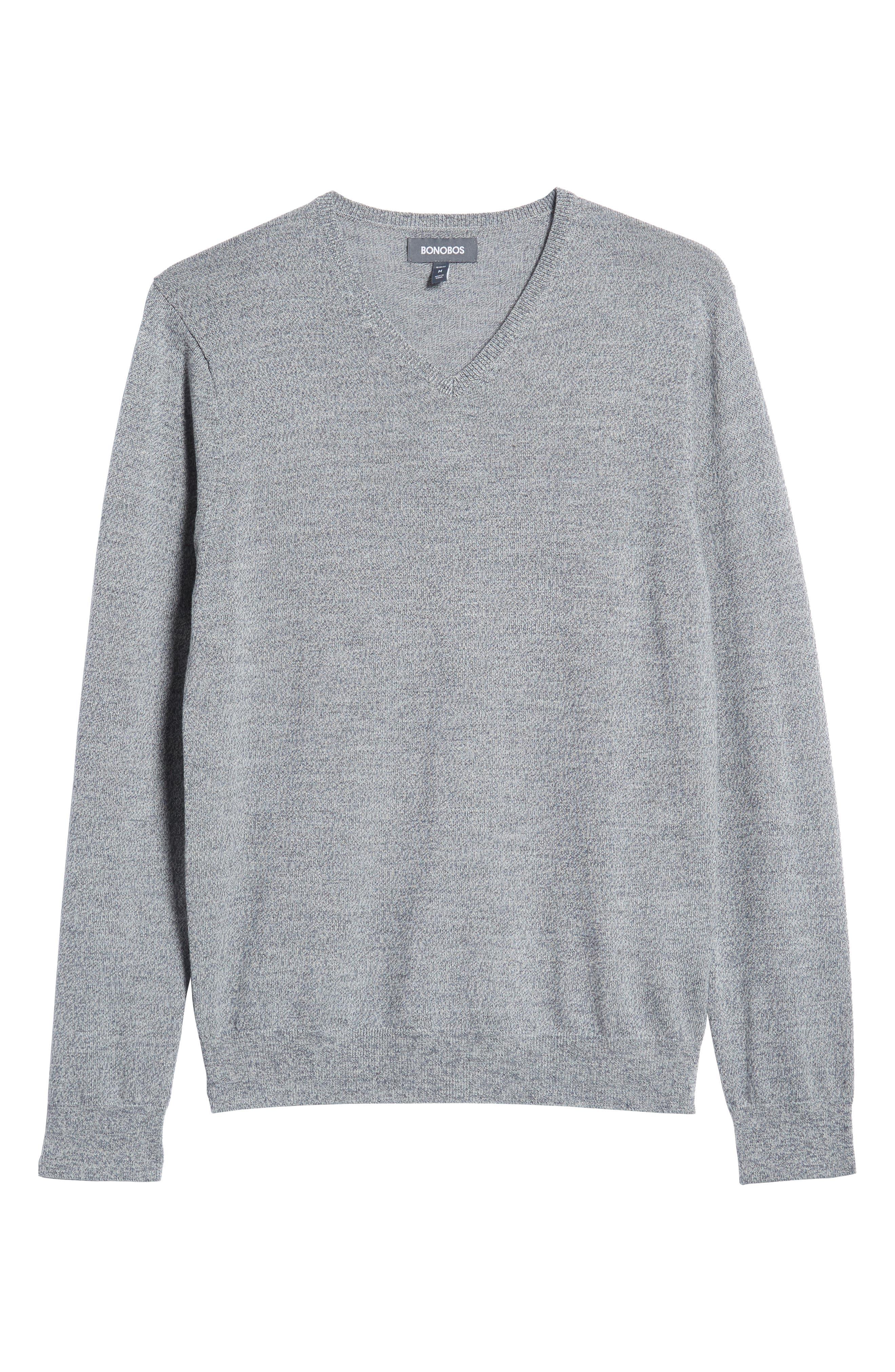 Slim Fit V-Neck Merino Wool Sweater,                             Alternate thumbnail 6, color,                             020