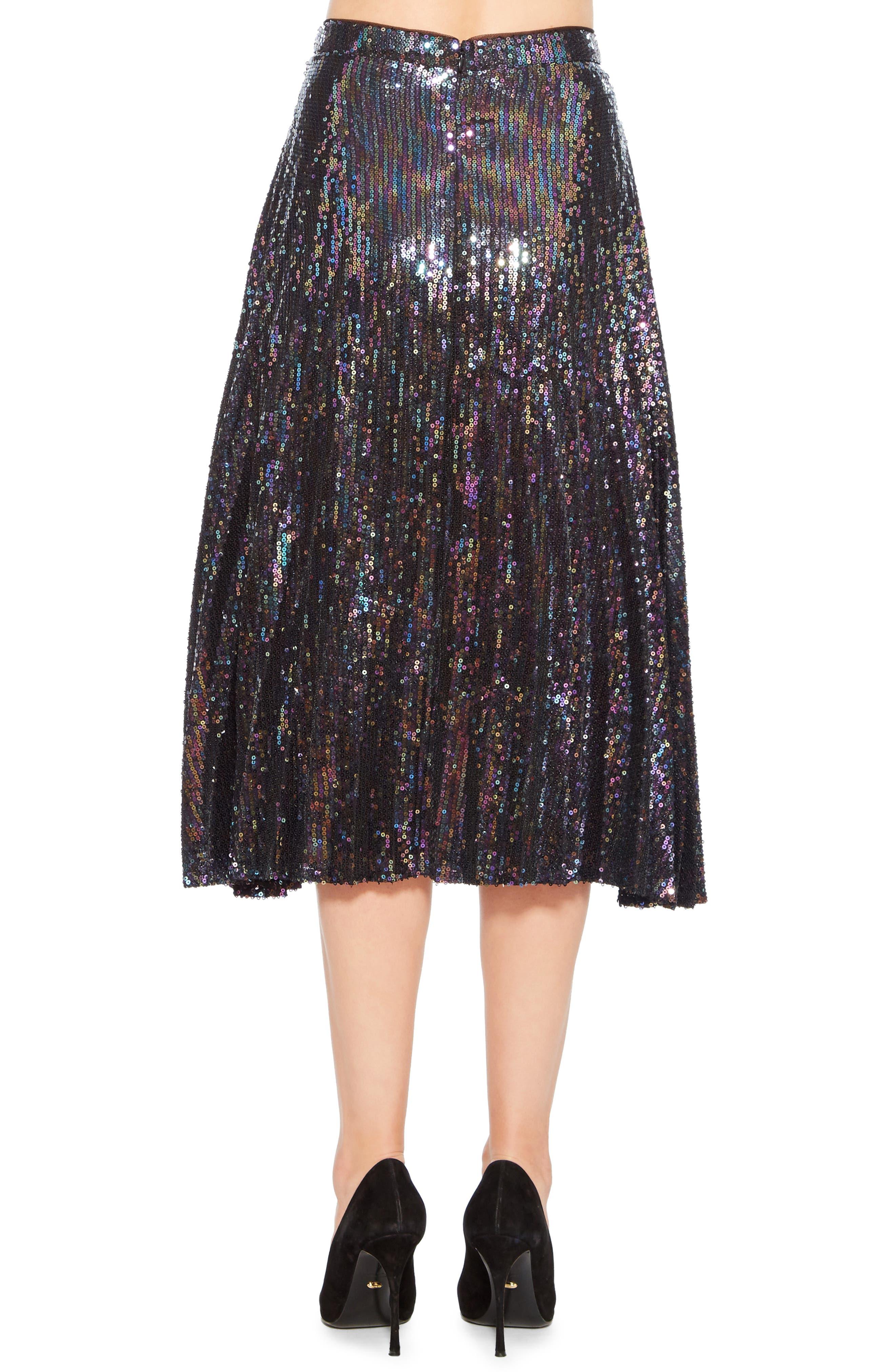 Citrine Sequin Skirt,                             Alternate thumbnail 2, color,                             PETROL