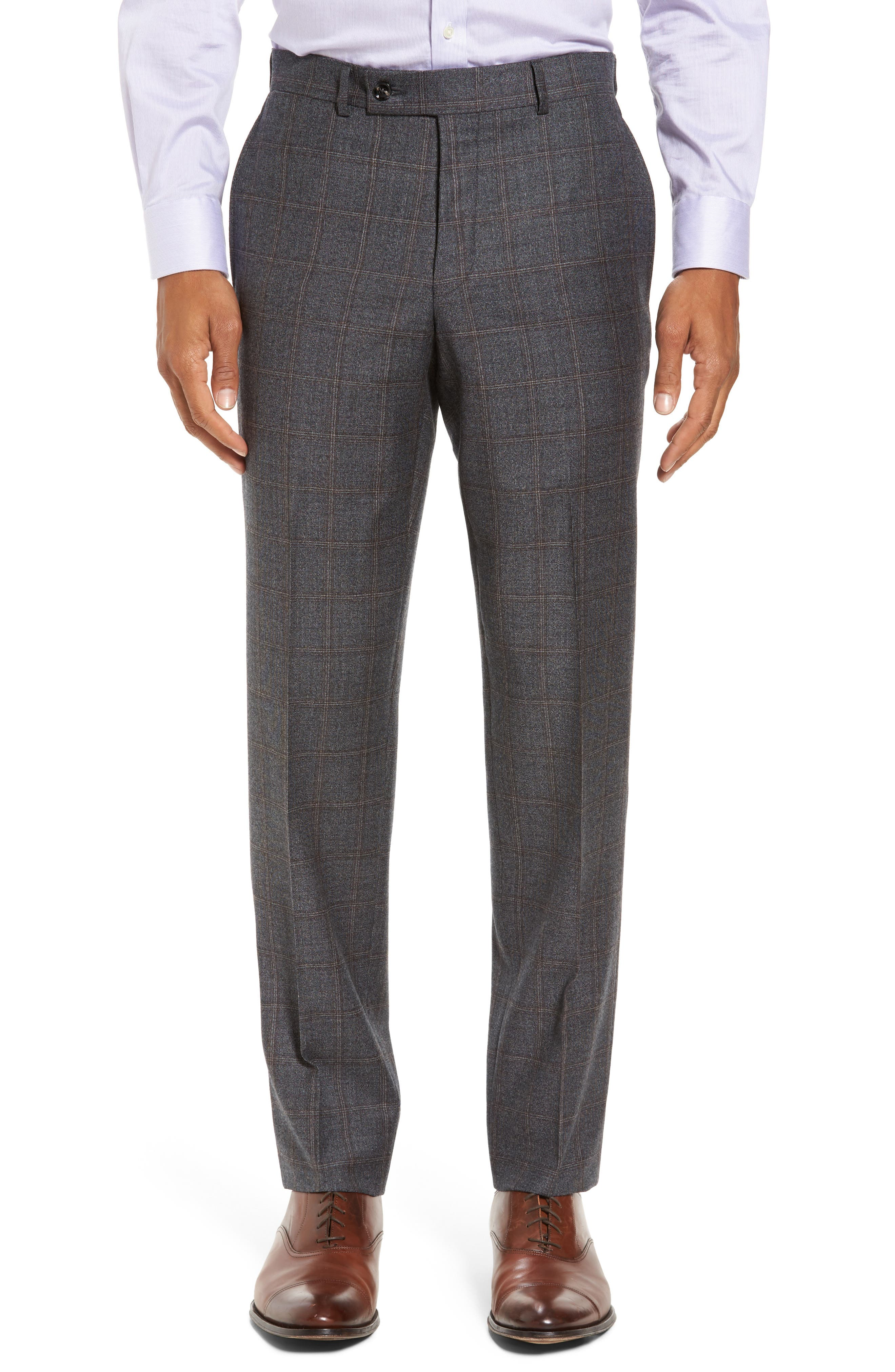 Trim Fit Plaid Wool Suit,                             Alternate thumbnail 6, color,