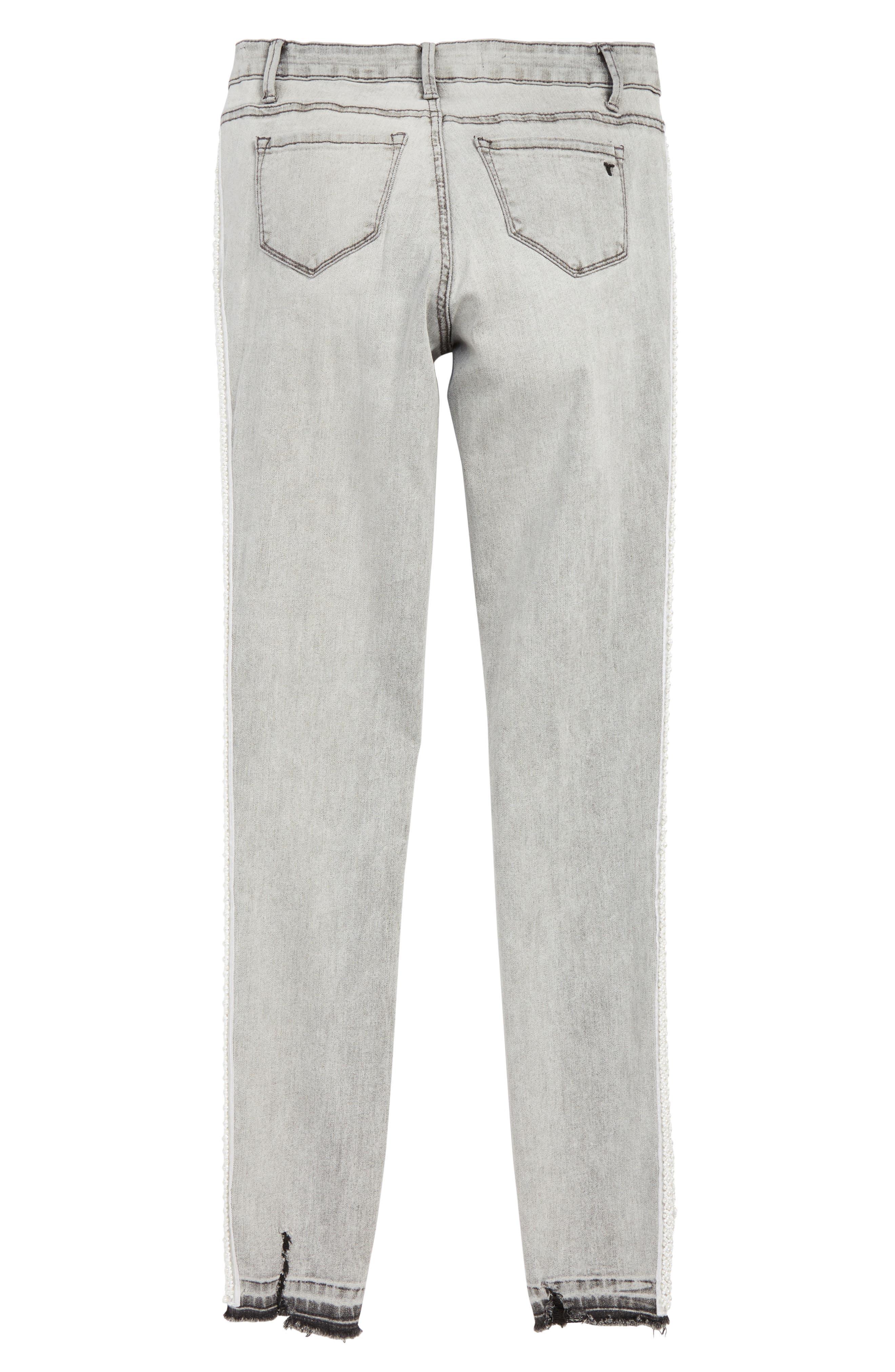 Embellished Tuxedo Stripe Skinny Jeans,                             Alternate thumbnail 2, color,                             CHARCOAL