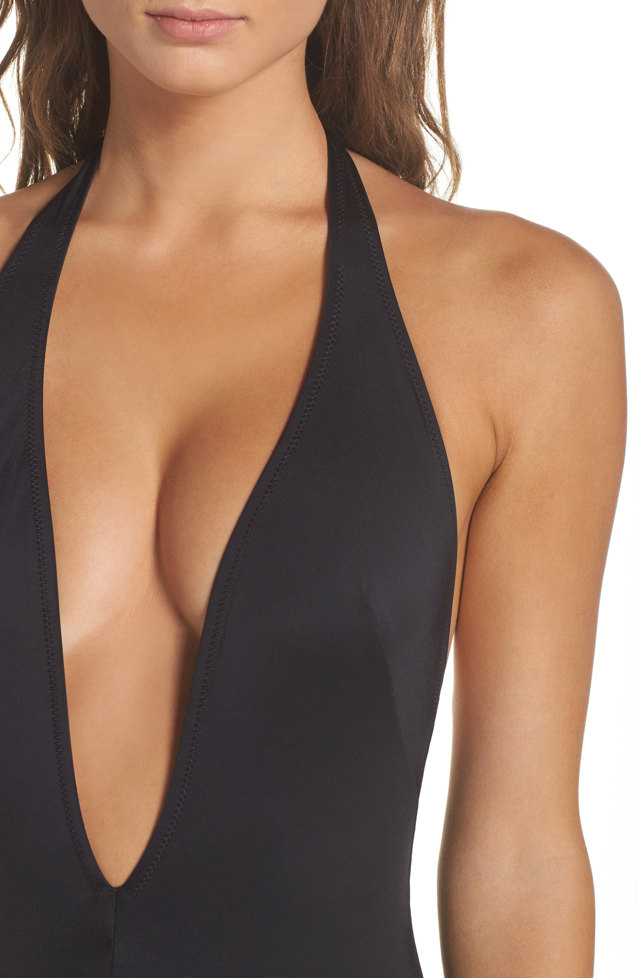 Willow Plunge One-Piece Swimsuit,                             Alternate thumbnail 4, color,                             001