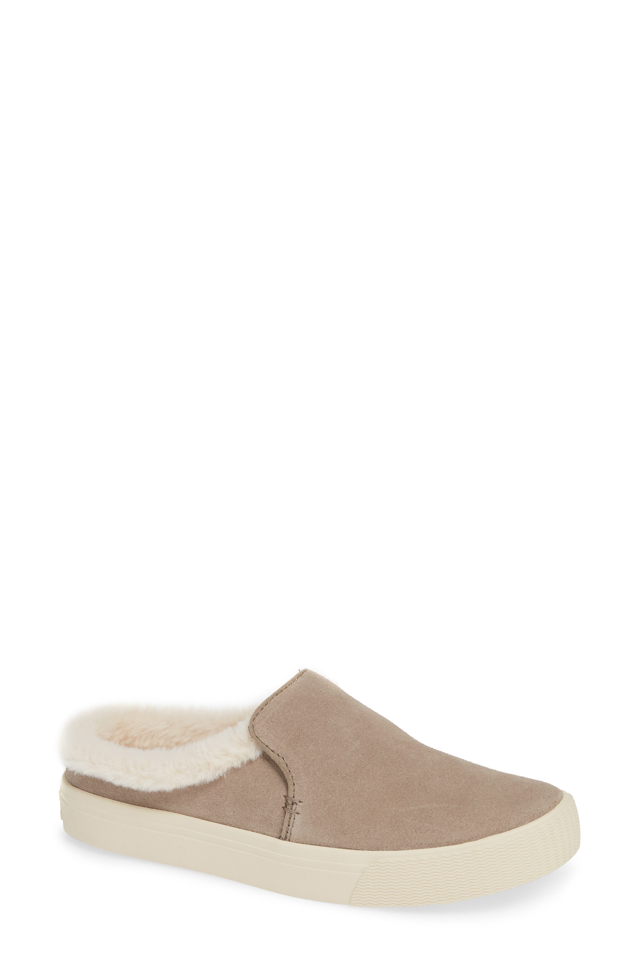 TOMS Sunrise Faux Fur Lined Slip-On Sneaker in Desert Taupe Suede