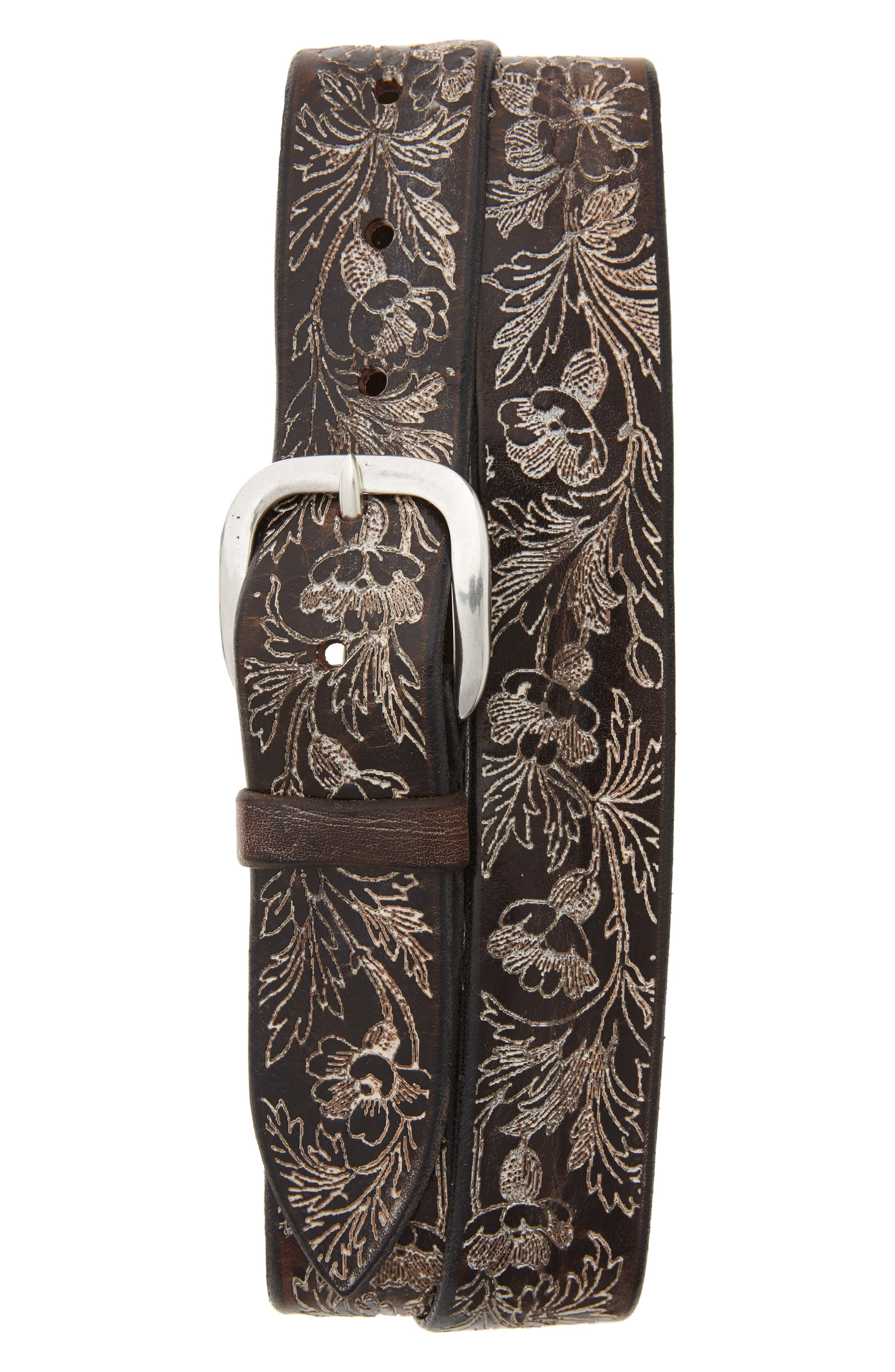 Orciani Wax Soapy Tooled Leather Belt, T. Moro