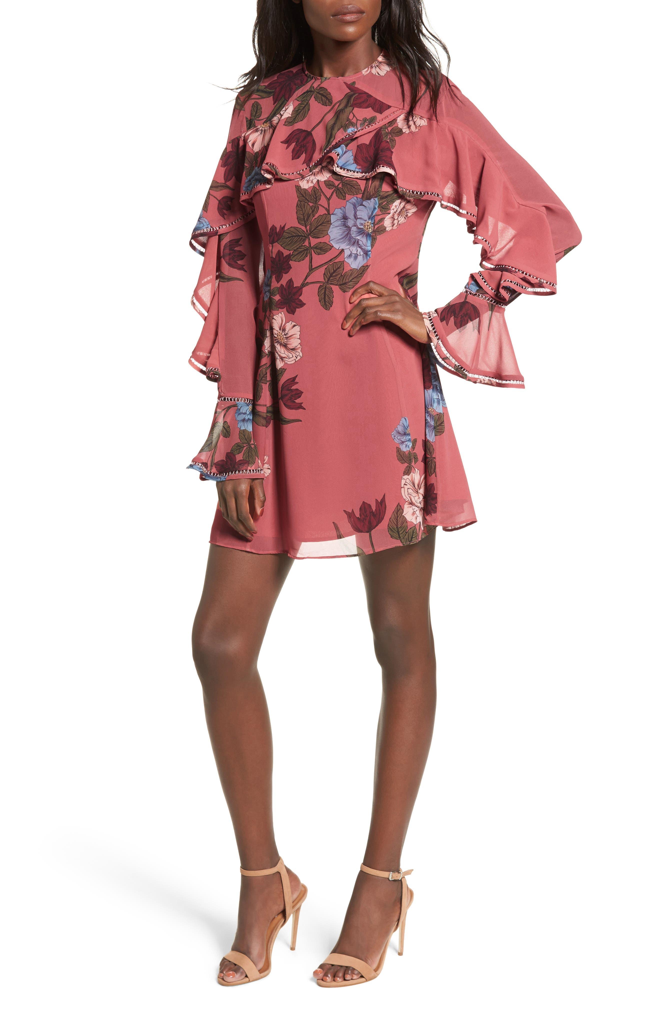 Night Lights Ruffle A-Line Dress,                         Main,                         color, 800