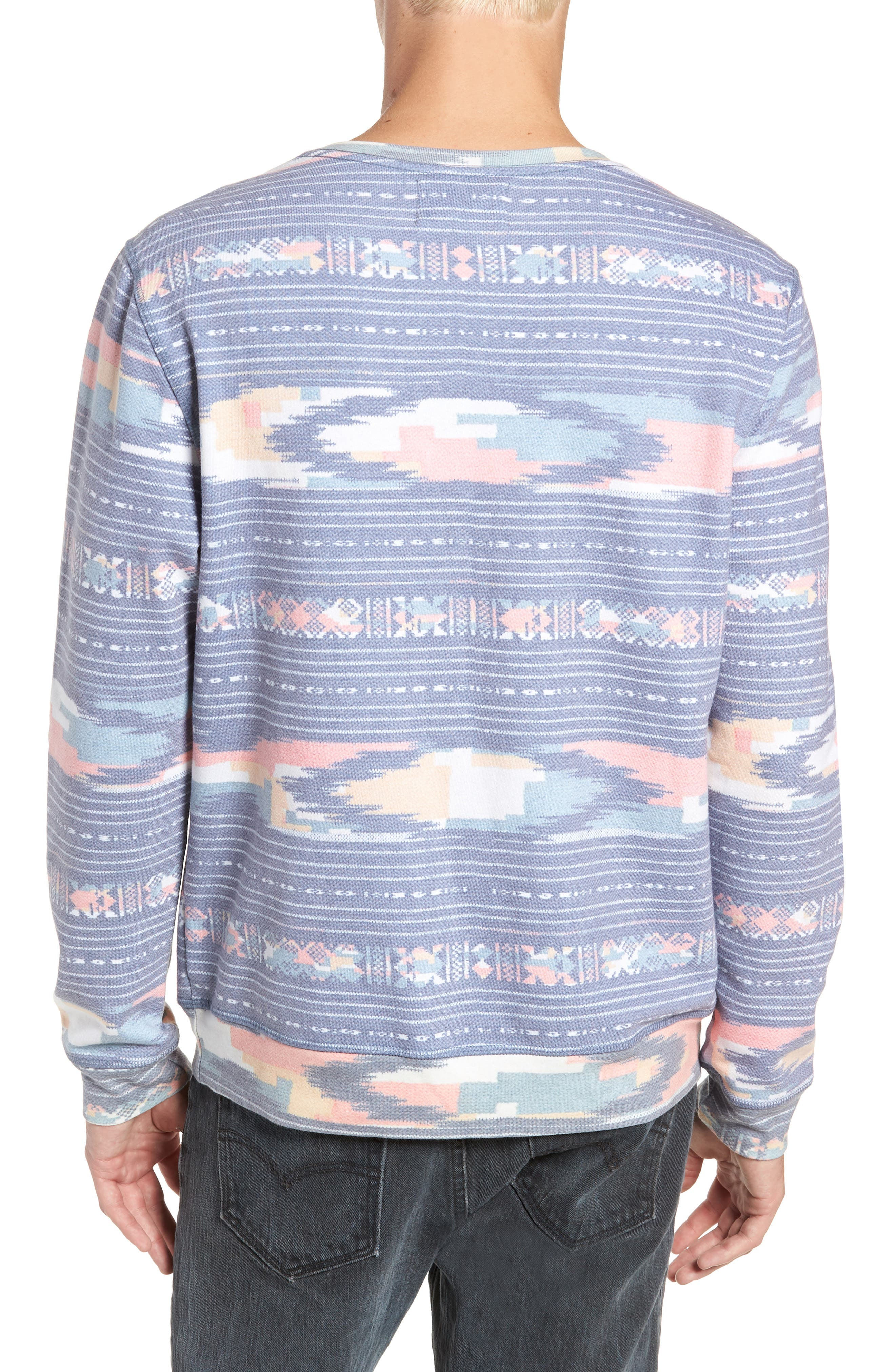 Sunset Ikat Crewneck Pullover,                             Alternate thumbnail 2, color,                             400