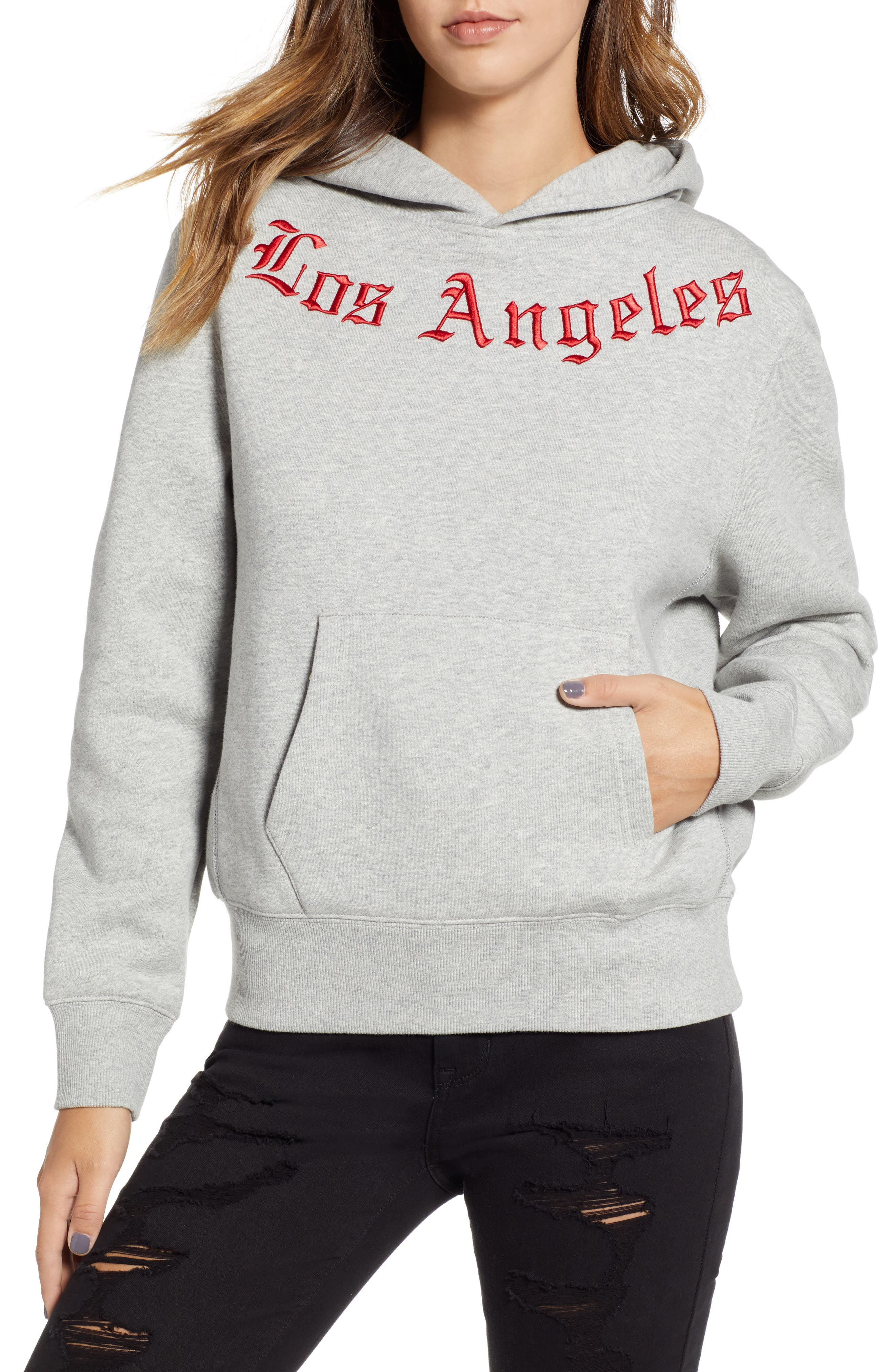 Embroidered Oversize Fleece in Gray