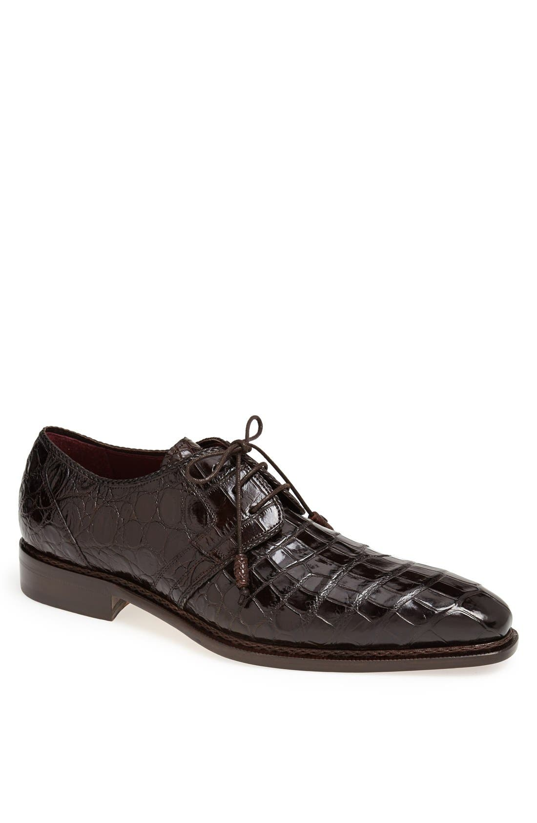 'Marini' Alligator Leather Derby,                             Main thumbnail 1, color,                             BROWN