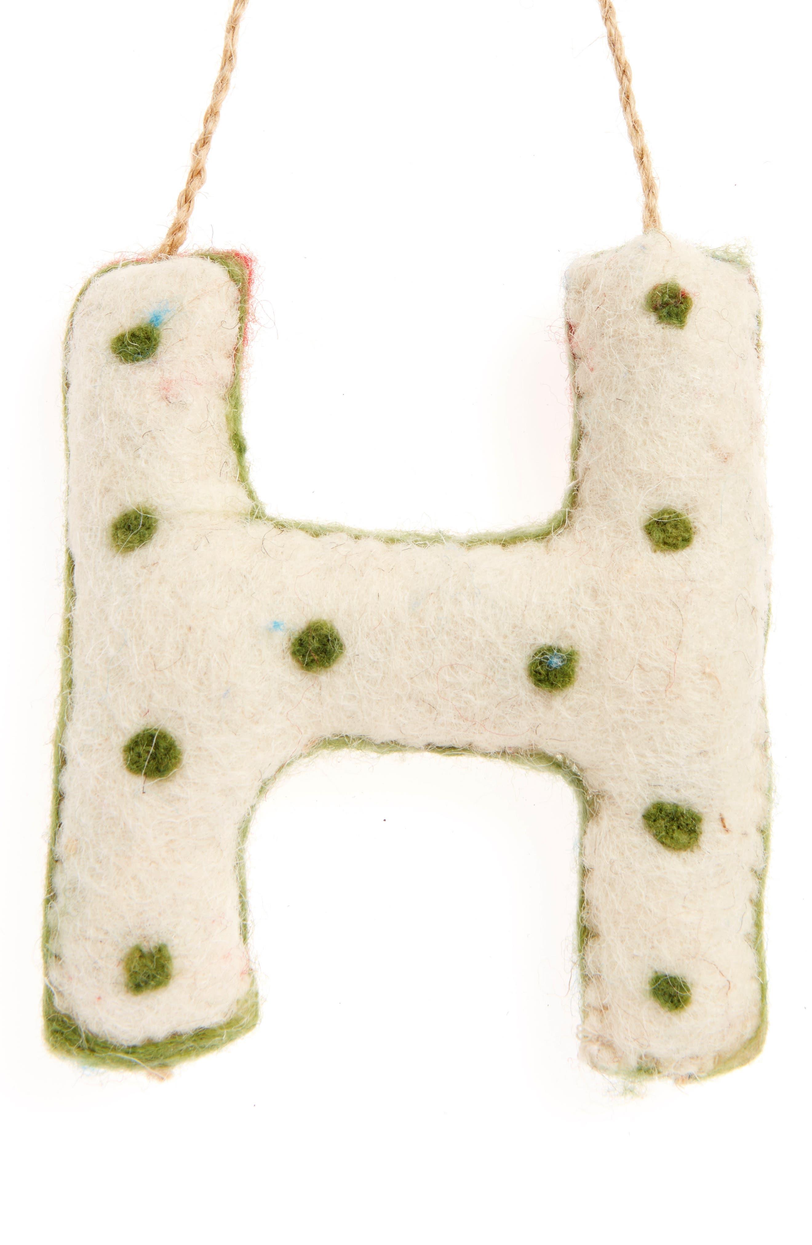 Global Folk Wool Monogram Ornament,                             Alternate thumbnail 30, color,