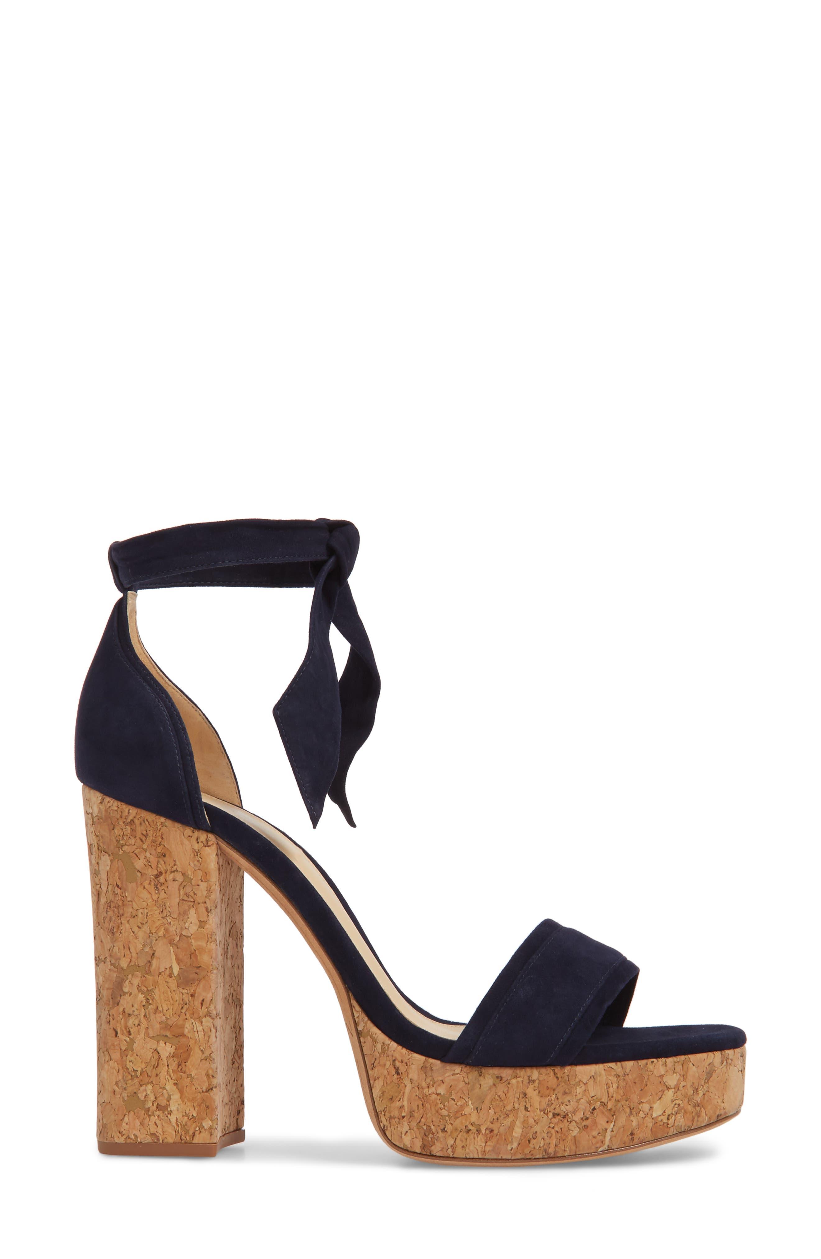 Celine Ankle Tie Platform Sandal,                             Alternate thumbnail 3, color,                             400