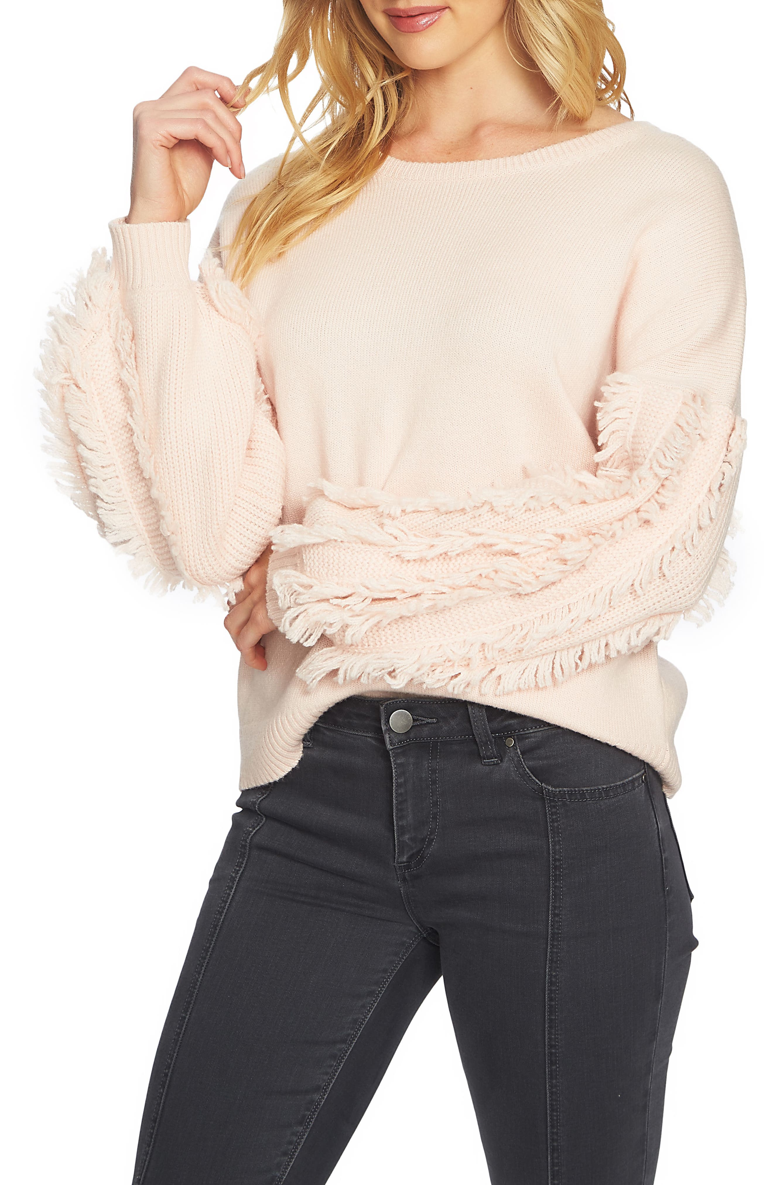 Fringe Sleeve Sweater,                             Main thumbnail 3, color,
