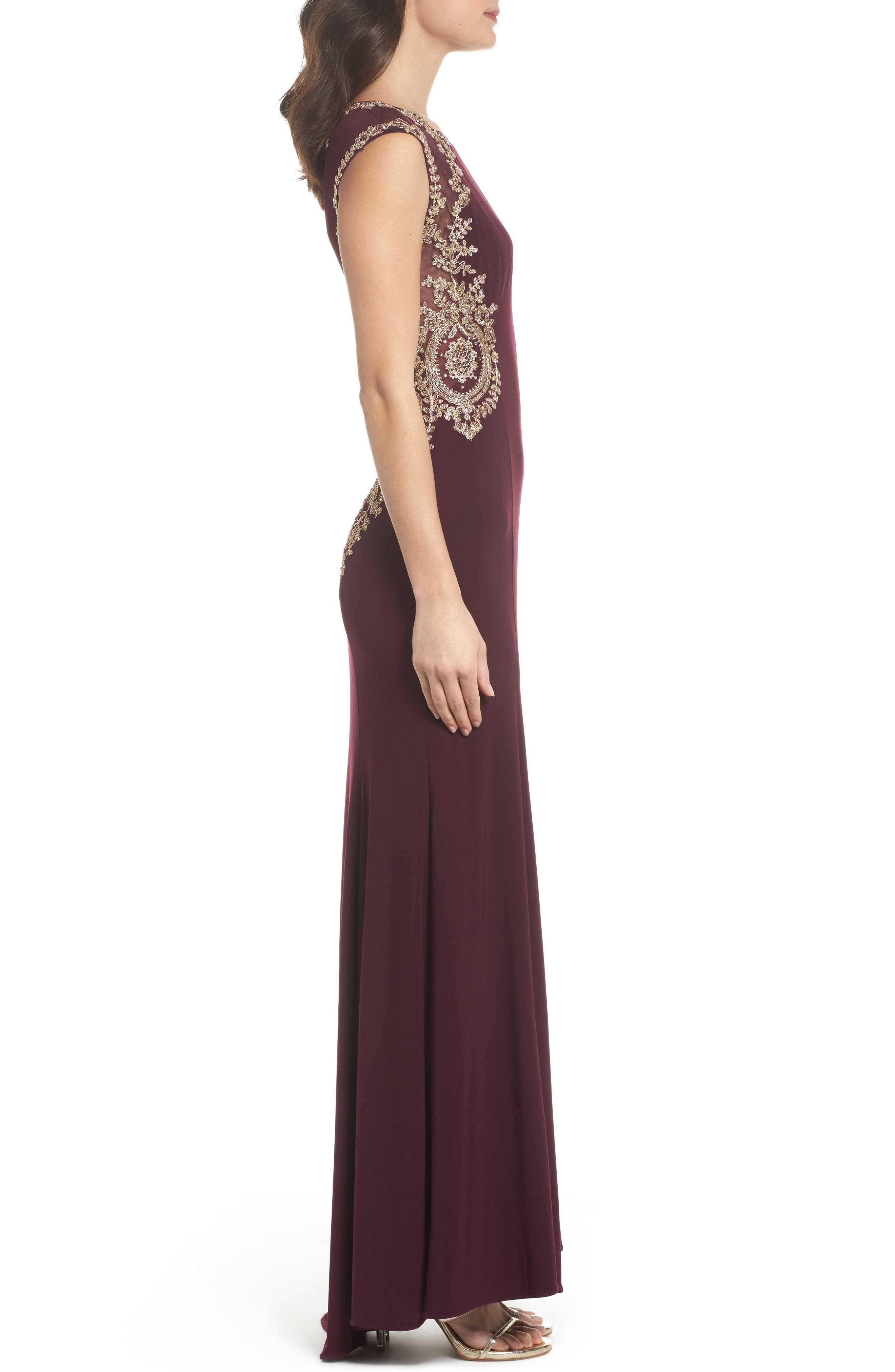 Embellished Jersey Gown,                             Alternate thumbnail 3, color,                             930
