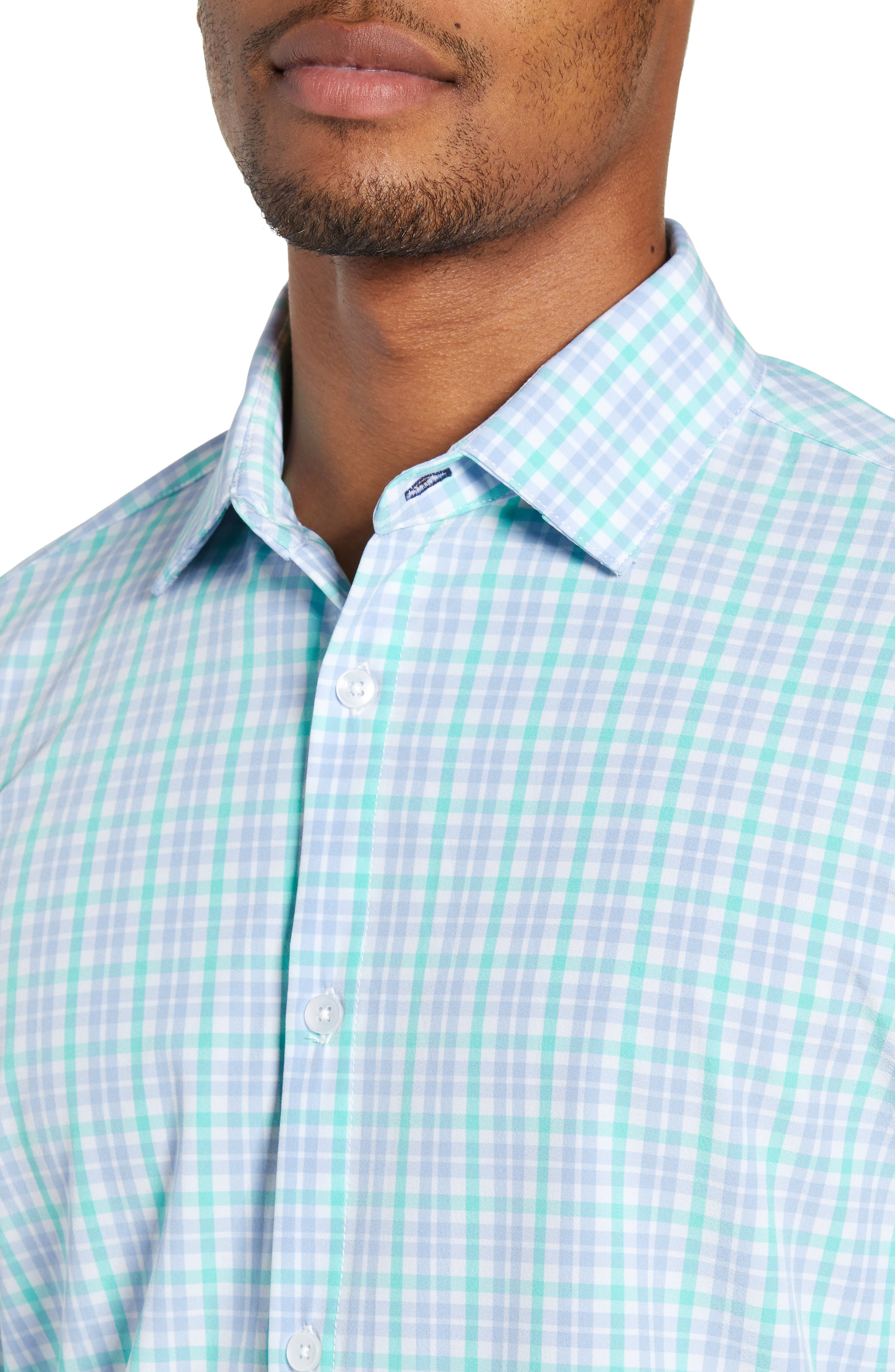 Knoll Regular Fit Plaid Performance Sport Shirt,                             Alternate thumbnail 2, color,                             GREEN