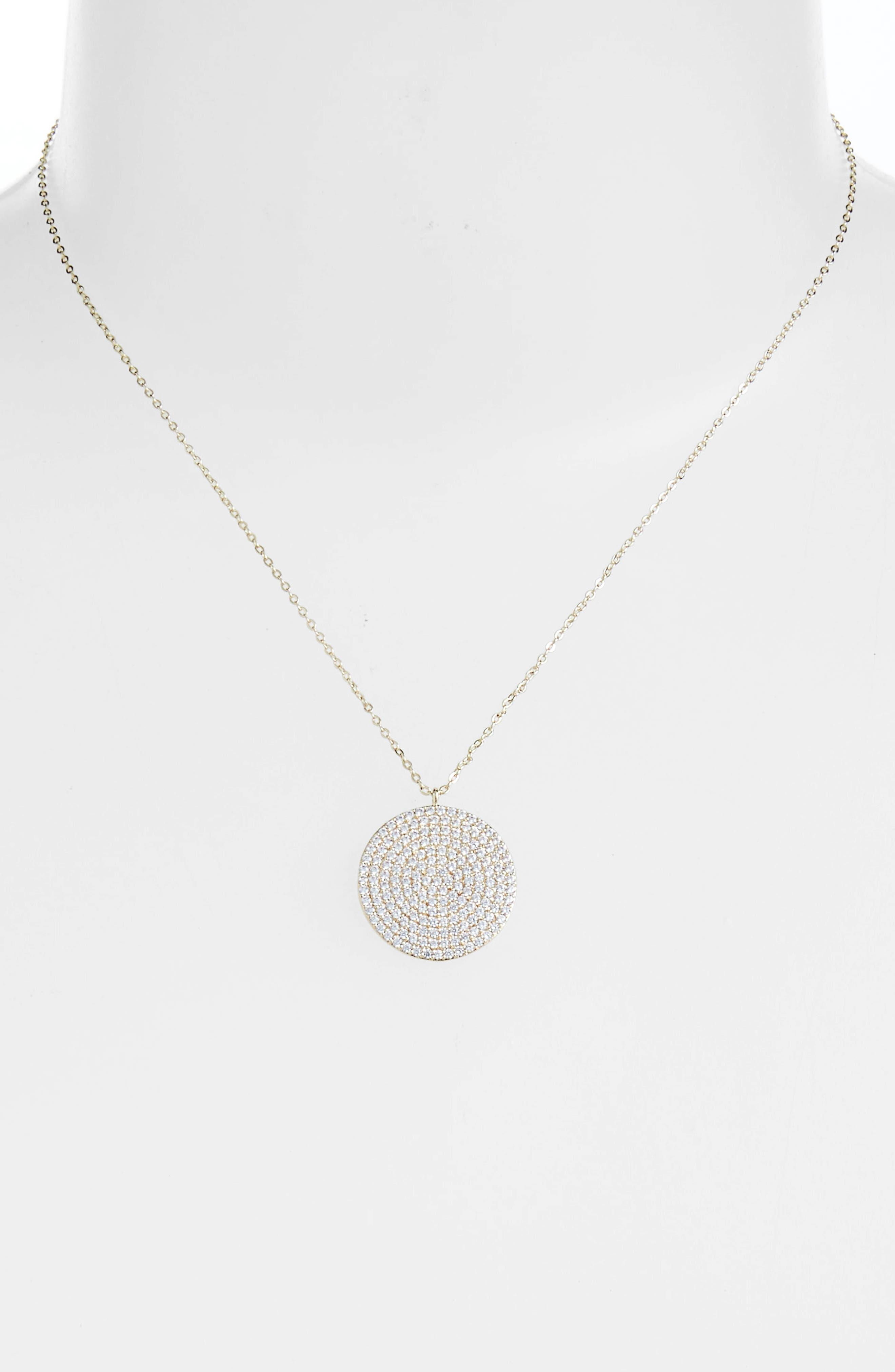Pavé Spheres Medium Disc Pendant Necklace,                             Alternate thumbnail 2, color,                             CLEAR/ GOLD