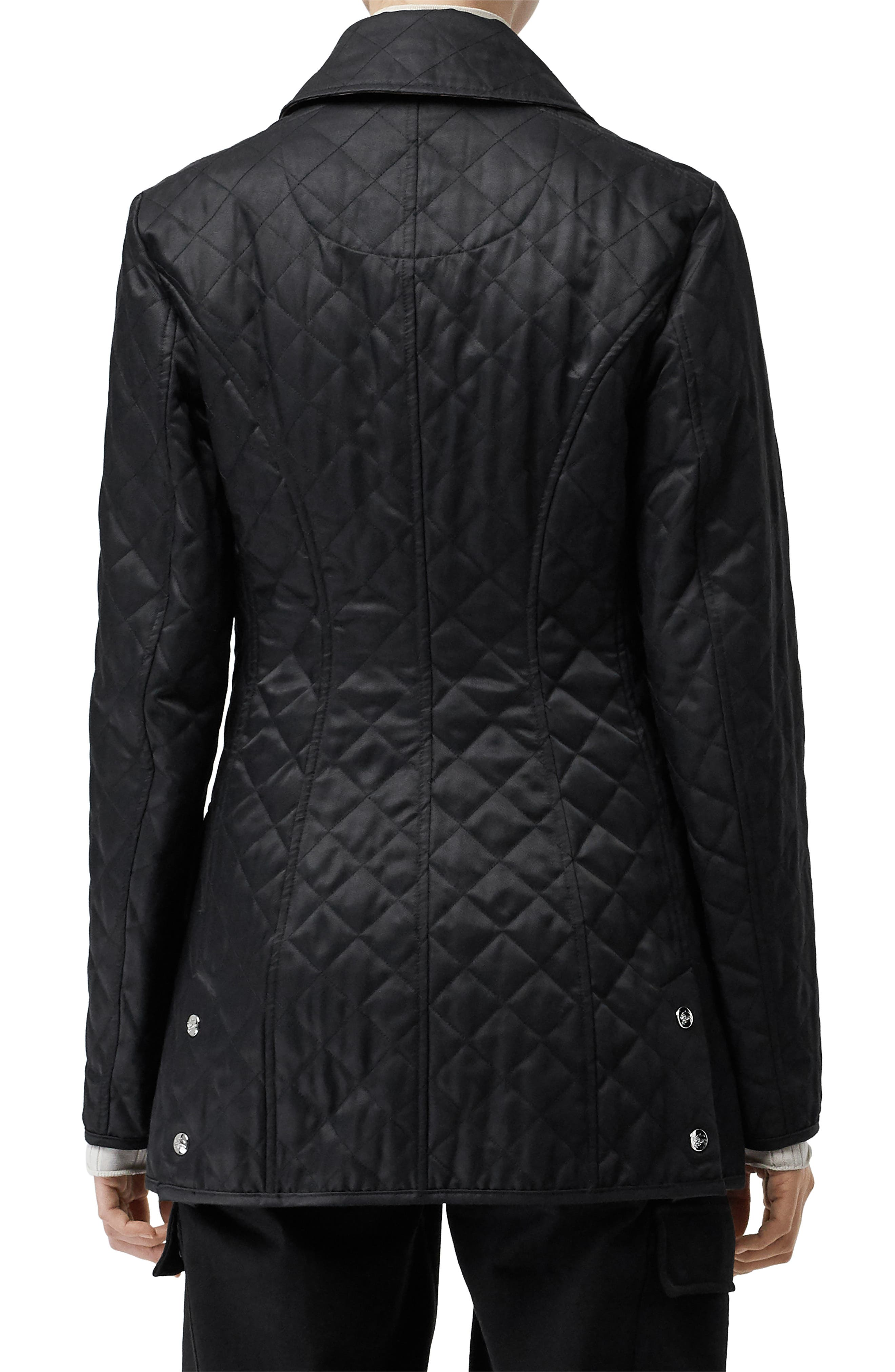BURBERRY,                             Borthwicke Quilted Jacket,                             Alternate thumbnail 2, color,                             BLACK