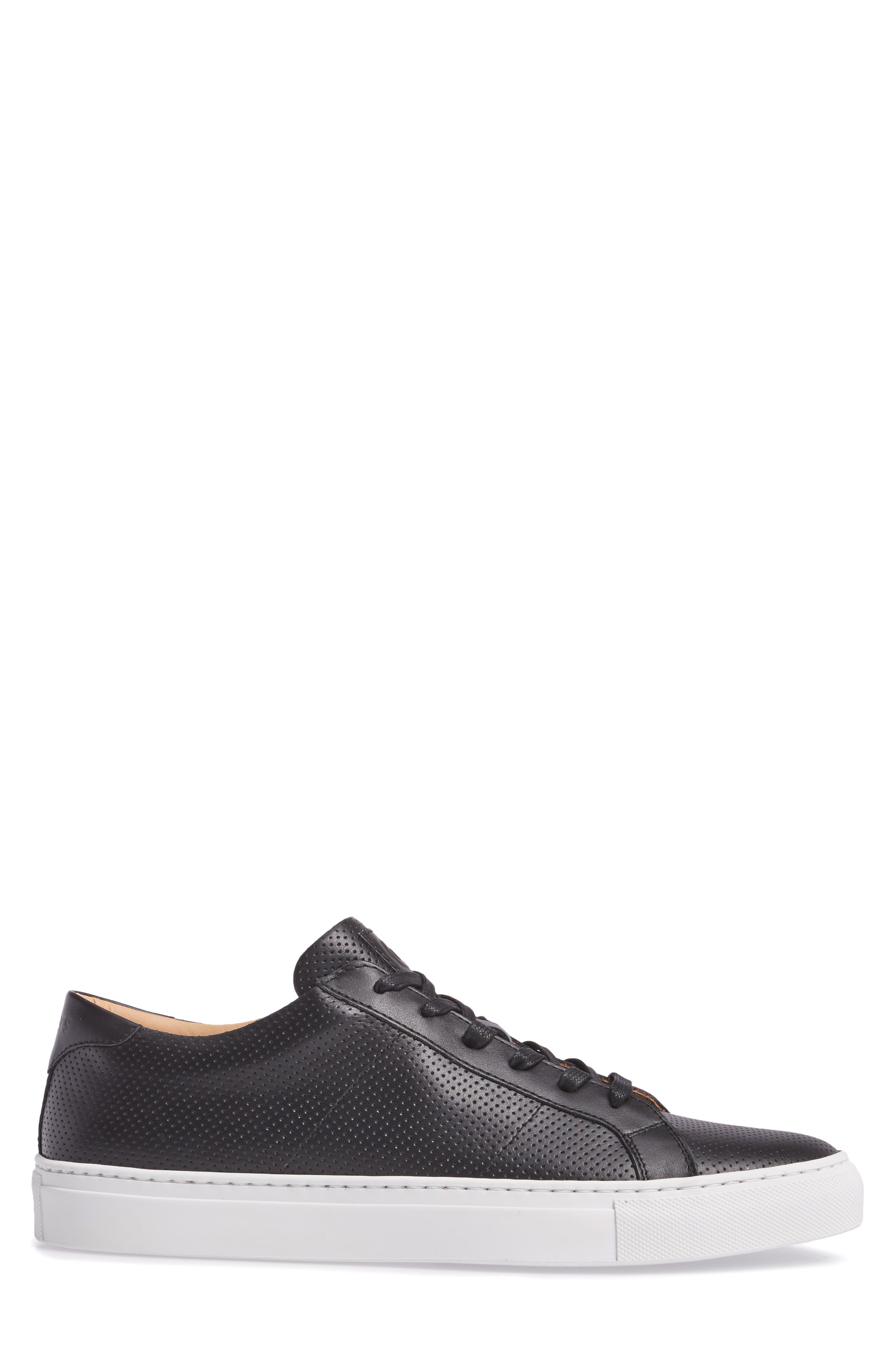 Royale Perforated Low Top Sneaker,                             Alternate thumbnail 3, color,                             001