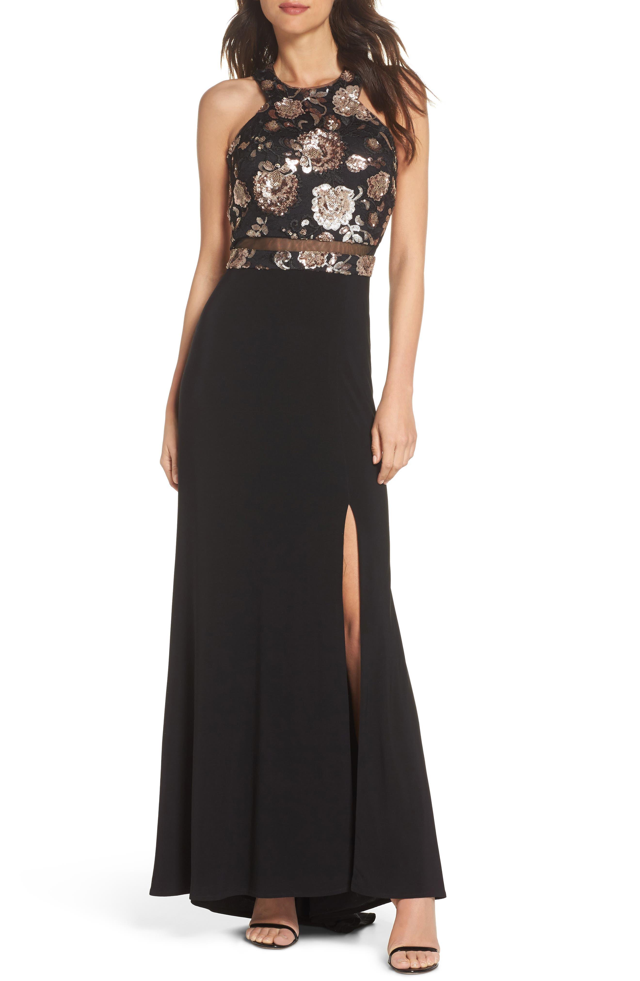 MORGAN & CO.,                             Sequin Mesh Panel Gown,                             Main thumbnail 1, color,                             BLACK / ROSE GOLD