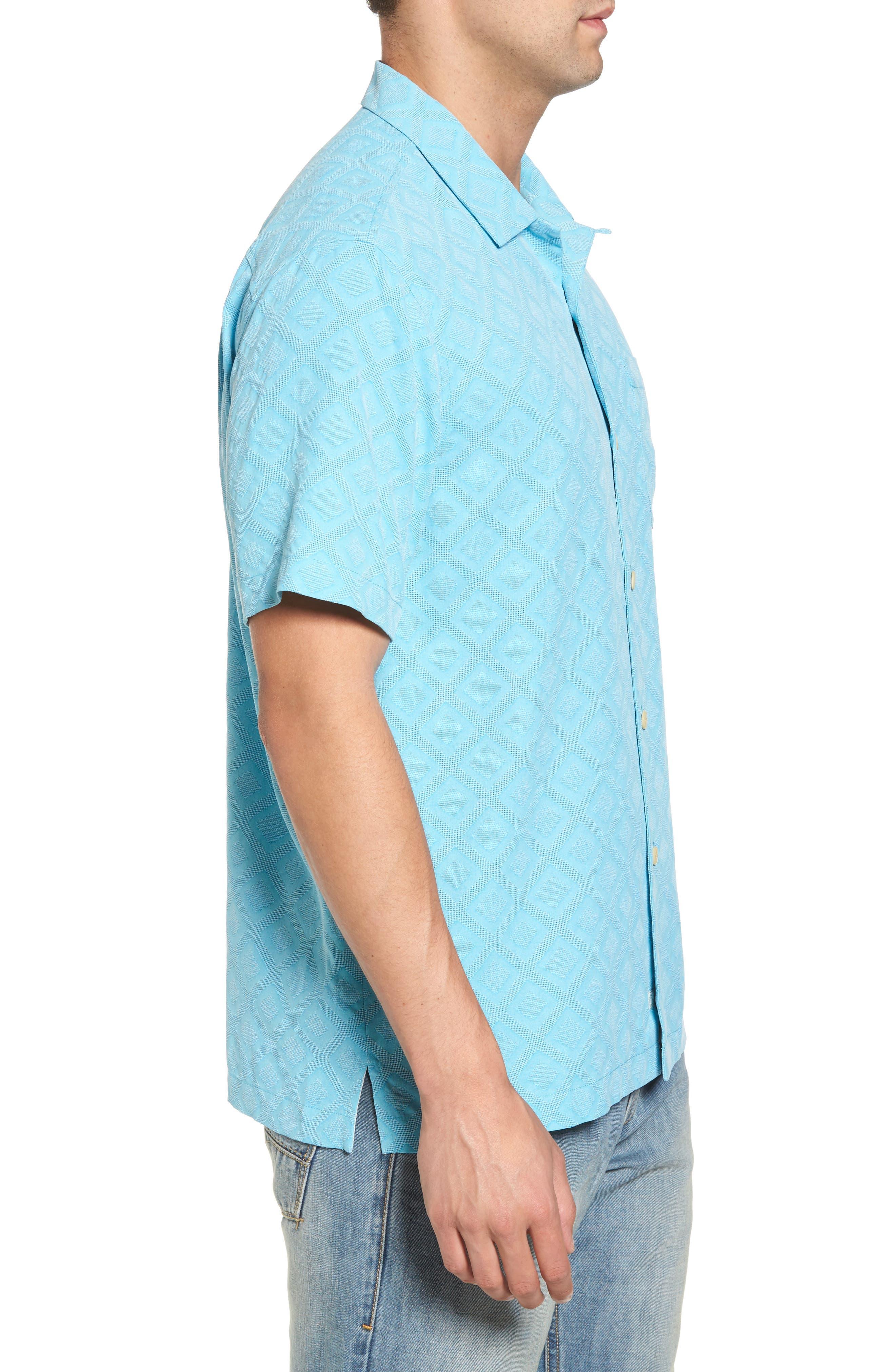 Solid Diamond Isle Silk Sport Shirt,                             Alternate thumbnail 6, color,