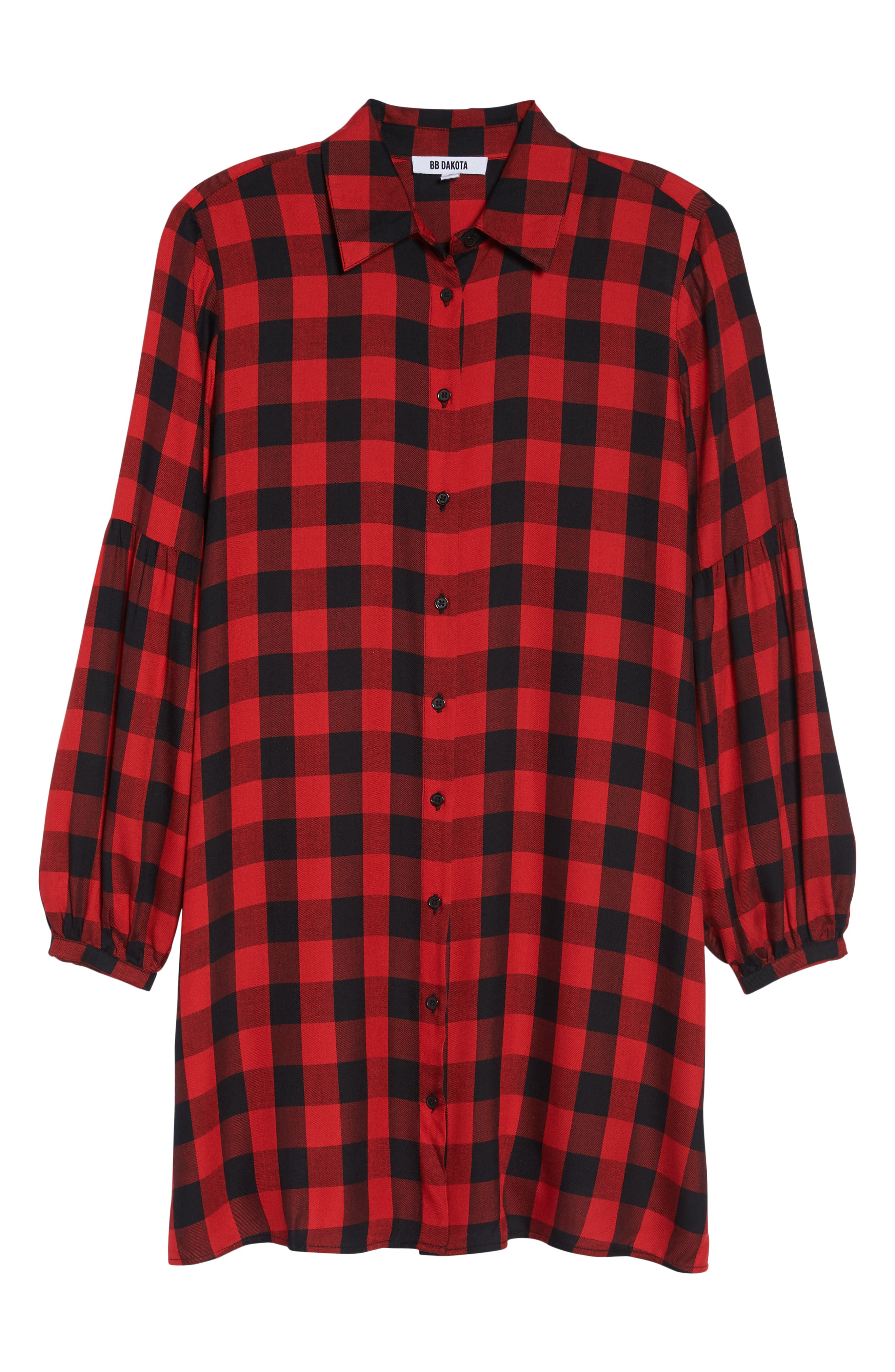 Buffalo Plaid Shirtdress,                             Alternate thumbnail 7, color,                             BRIGHT RED