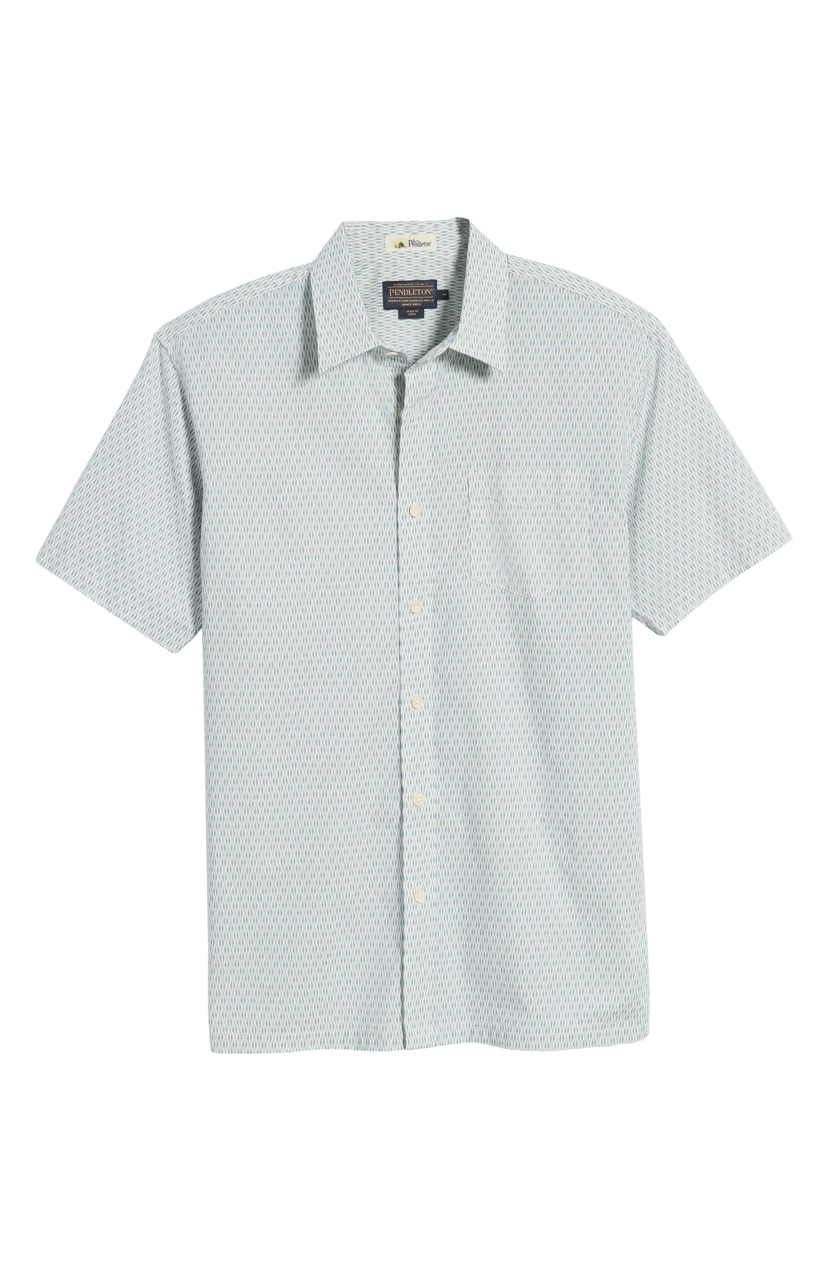 Regular Fit Print Short Sleeve Sport Shirt,                             Alternate thumbnail 6, color,                             VINTAGE NAVY SQUIGGLE
