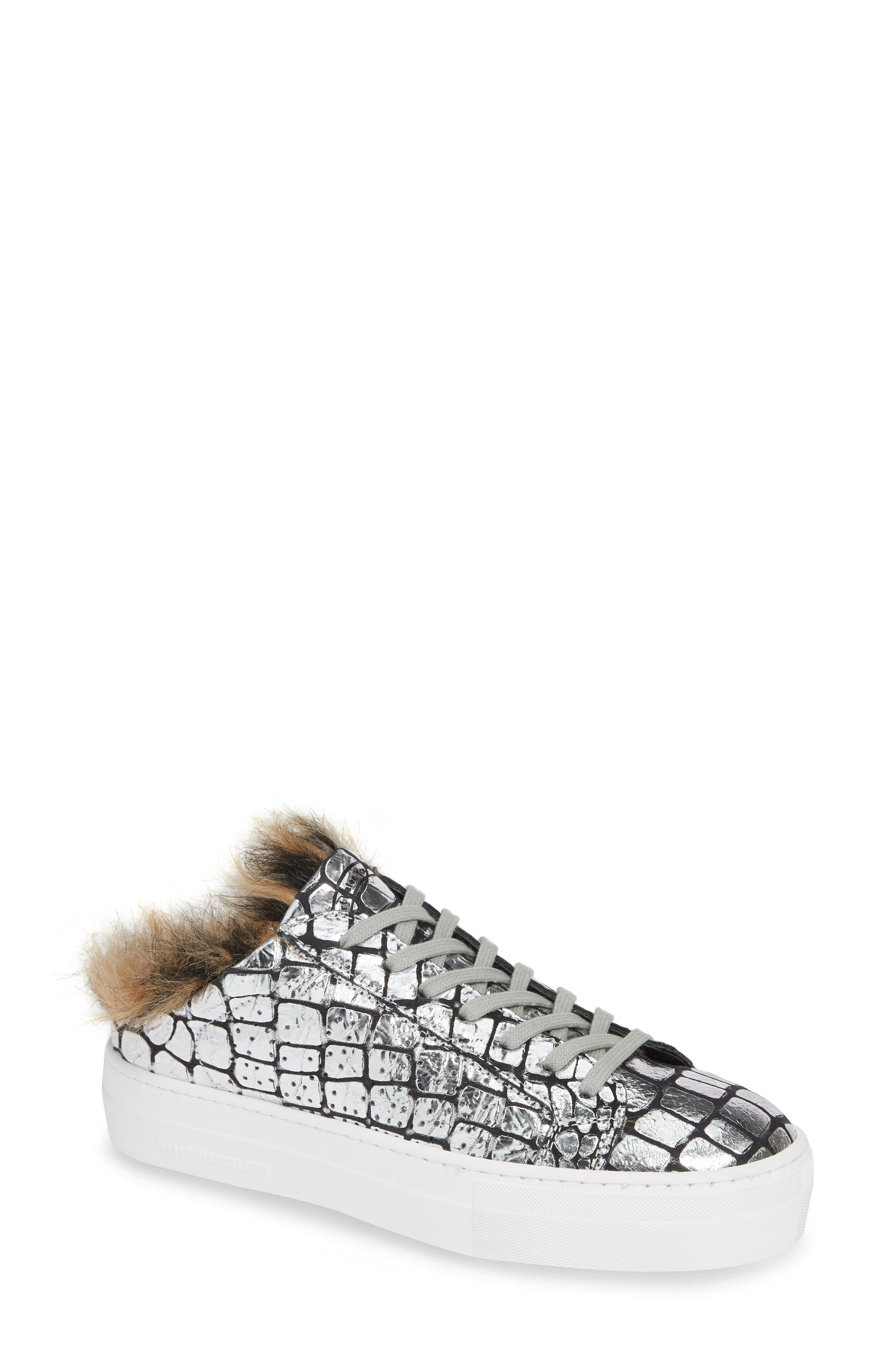 Women'S Clara Crackled Leather Open Back Platform Sneakers in Silver Lunar