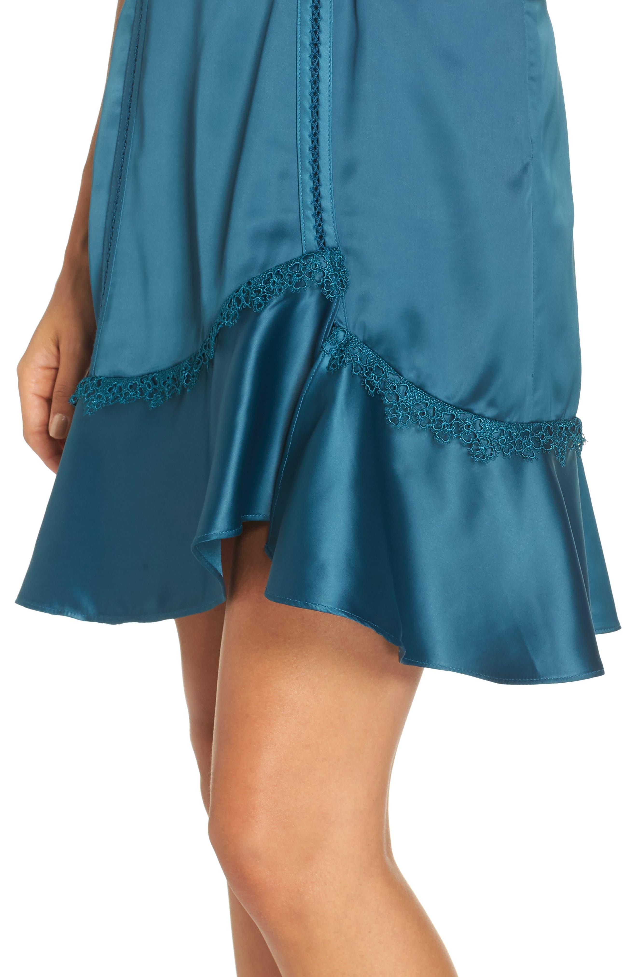 Betty Satin & Soutache Party Dress,                             Alternate thumbnail 4, color,                             TEAL