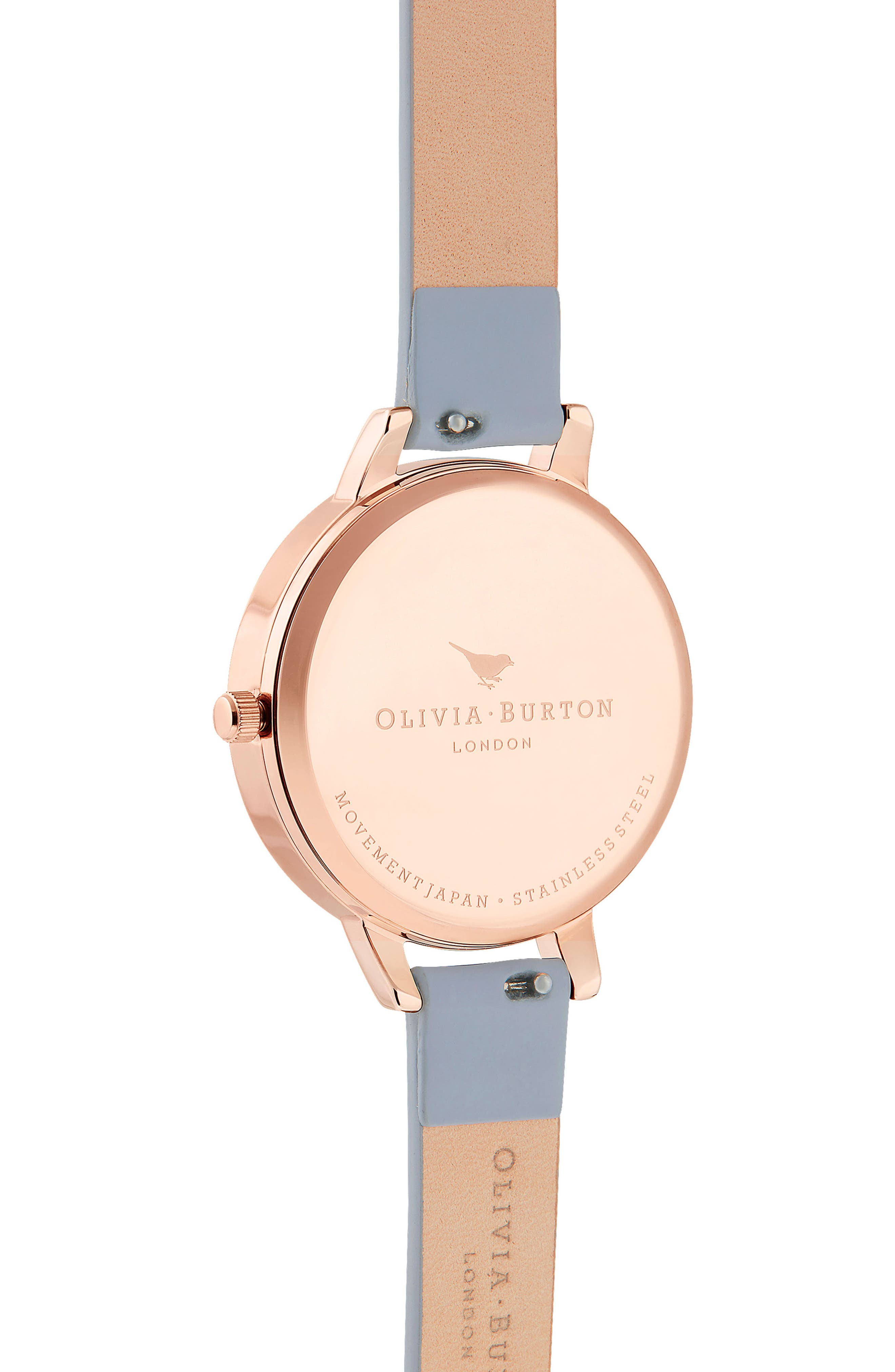 Rainbow Stone Leather Strap Watch, 34mm,                             Alternate thumbnail 3, color,                             CHALK BUE/ WHITE/ ROSE GOLD