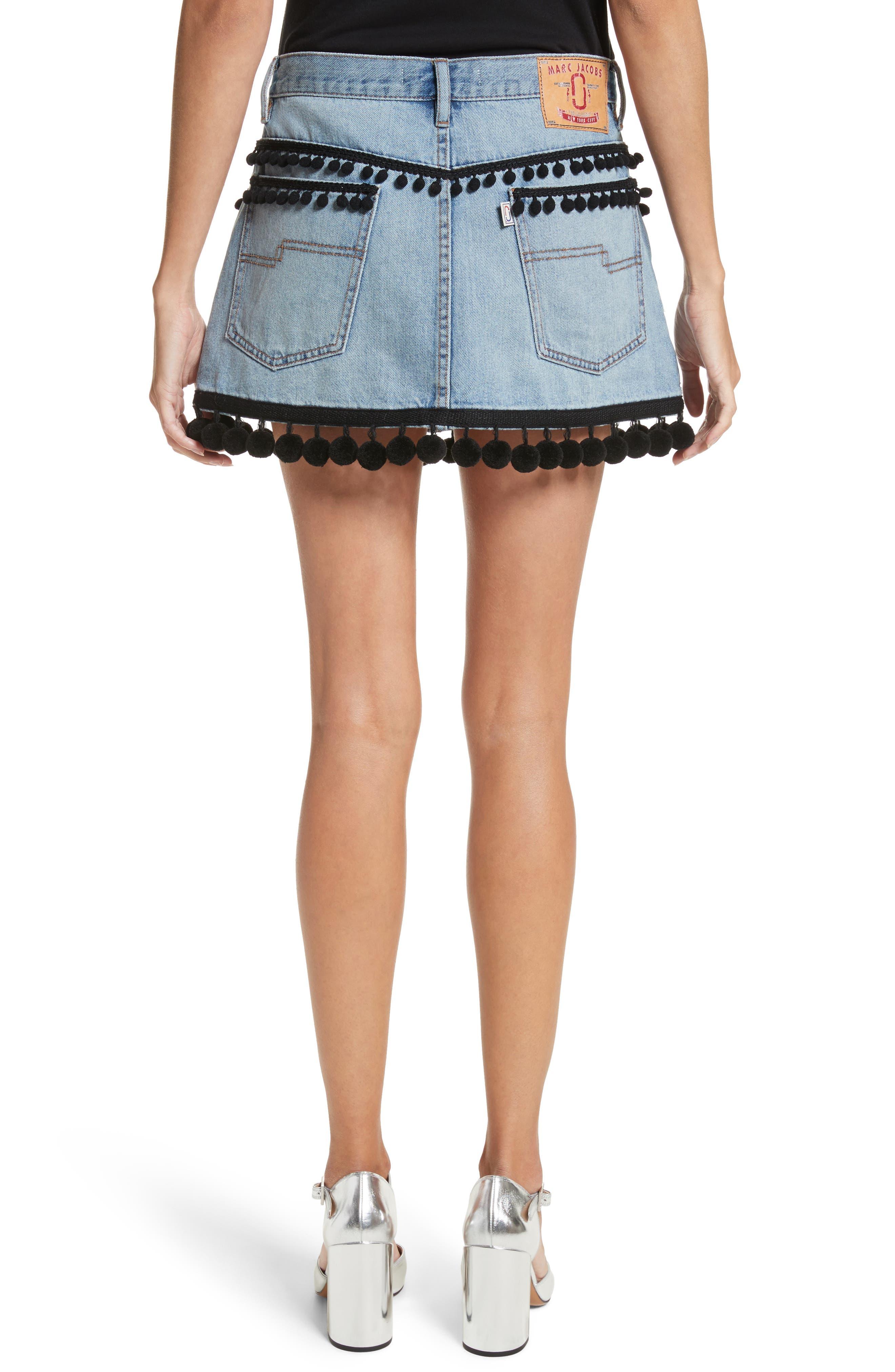 Pompom Trim Denim Miniskirt,                             Alternate thumbnail 2, color,                             489