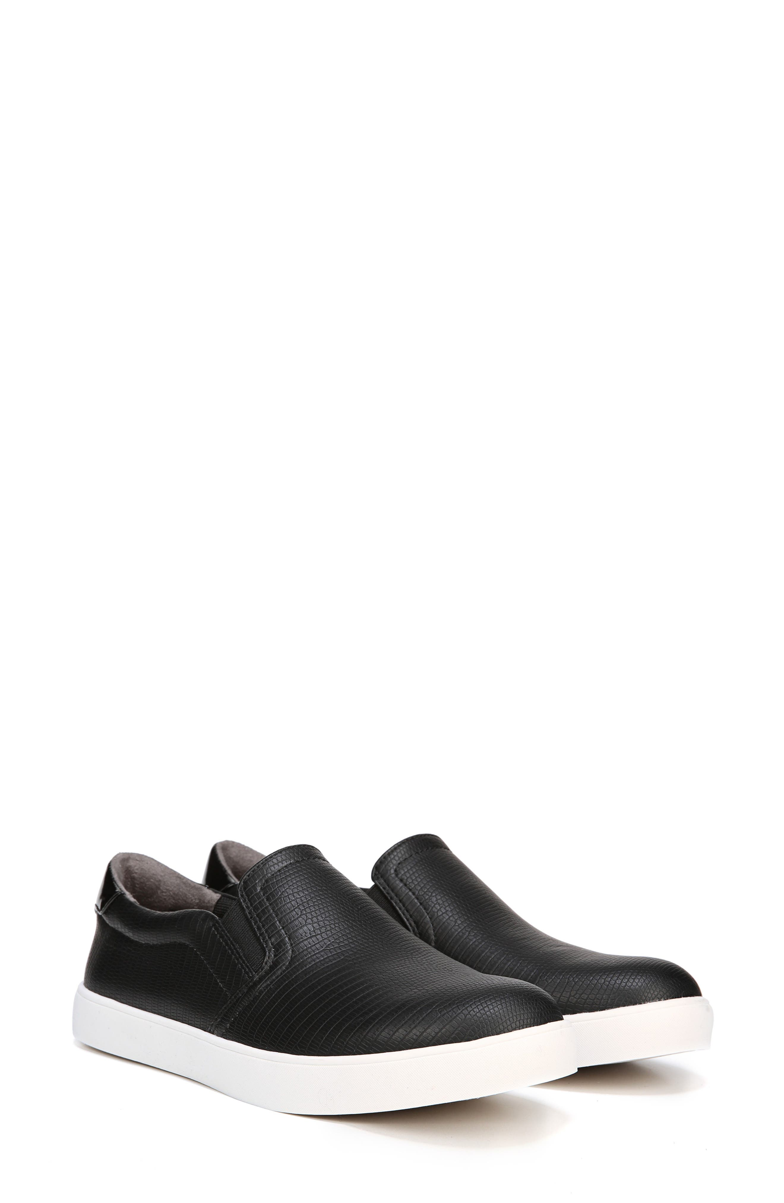 Madison Slip-On Sneaker,                             Alternate thumbnail 7, color,                             BLACK FAUX LEATHER