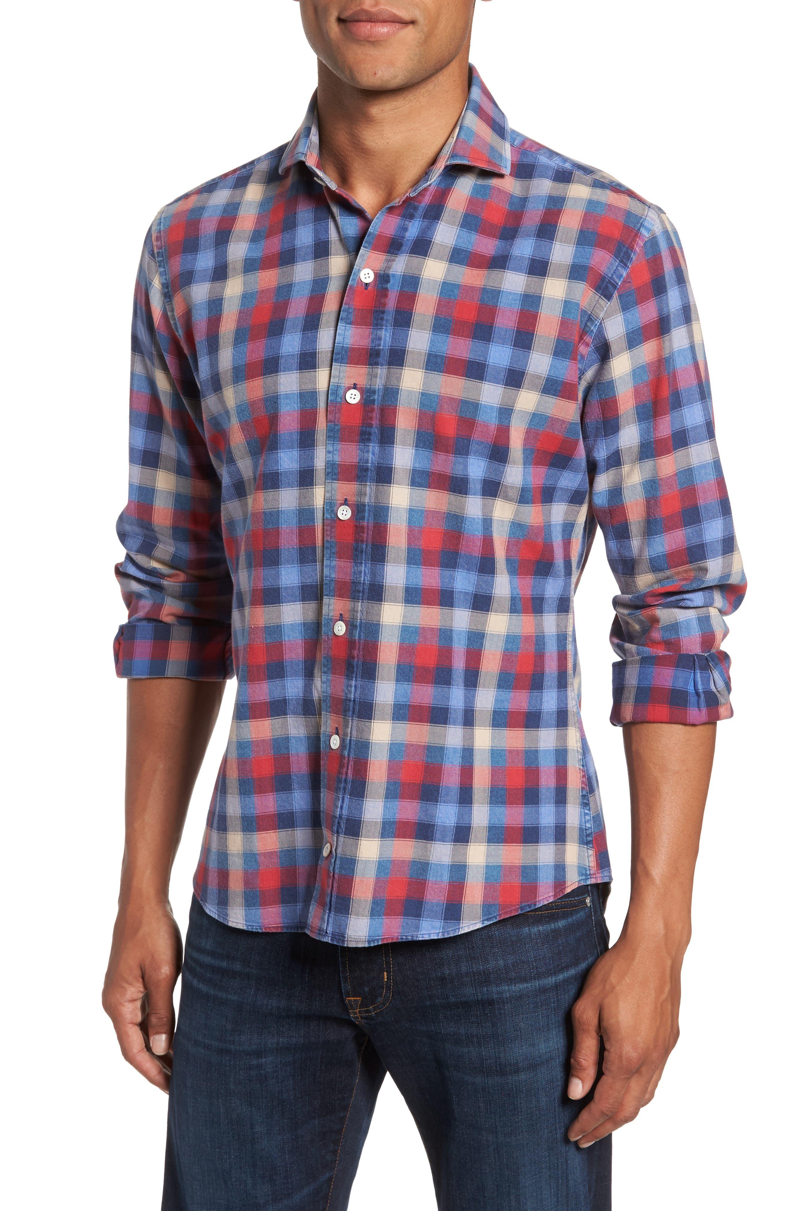 Alden Slim Fit Check Sport Shirt,                         Main,                         color, 652
